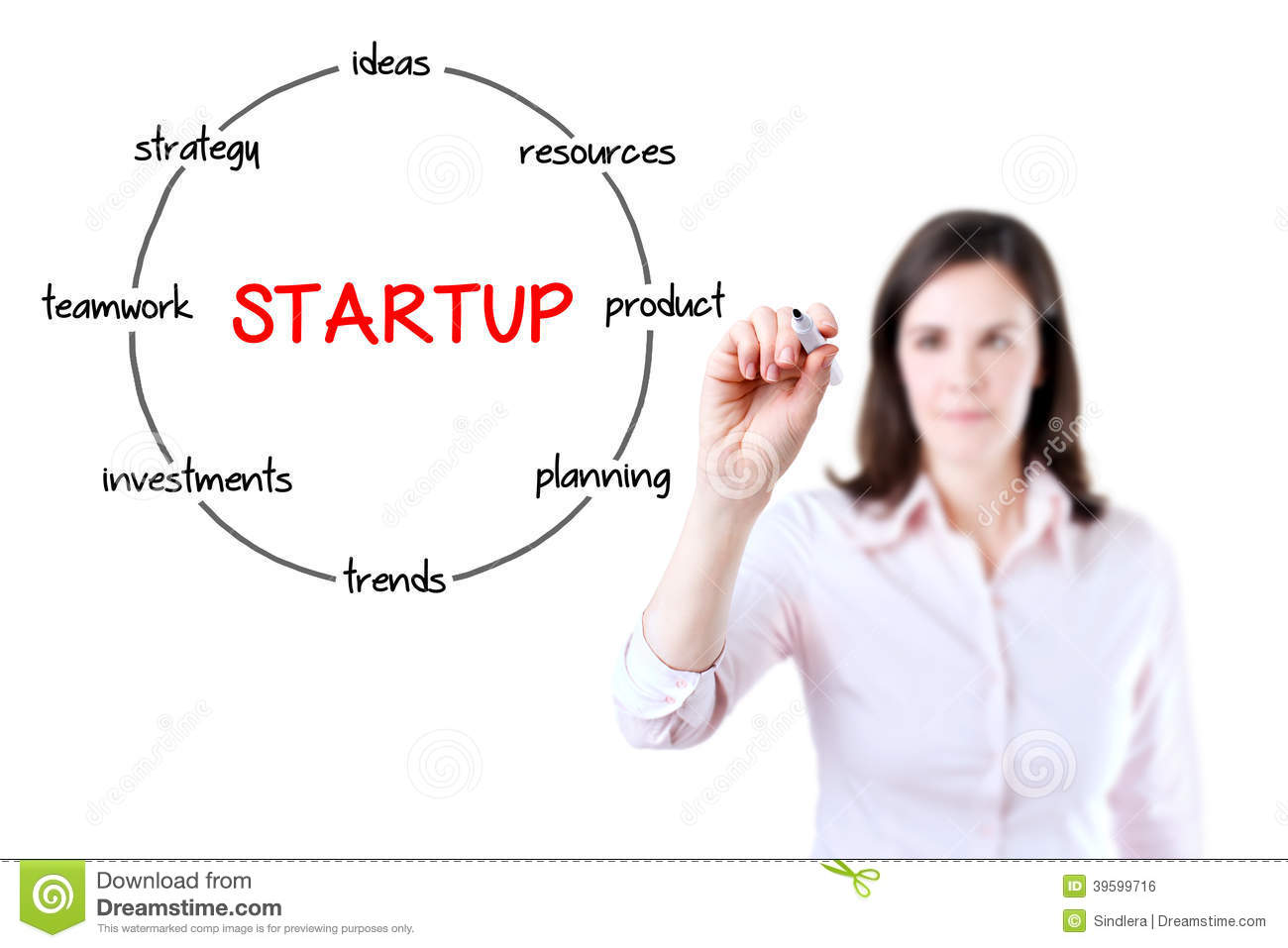 Startup Circular Structure Diagram. Young Businesswoman ...