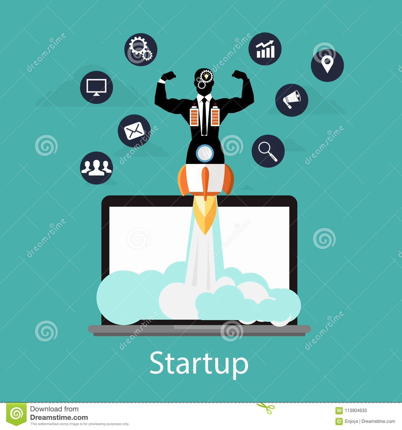 Startup Concept, Flat Businessman Style Quick Rocket Launch And