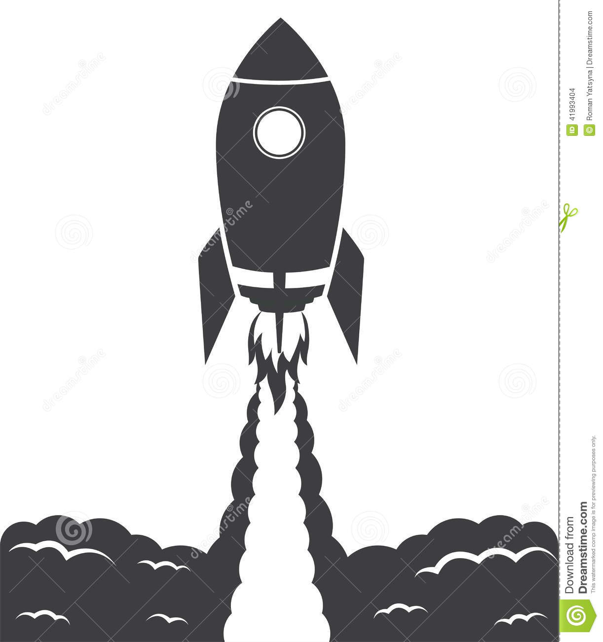 Startup Cosmic Rocket, Black And White Stock Vector ...