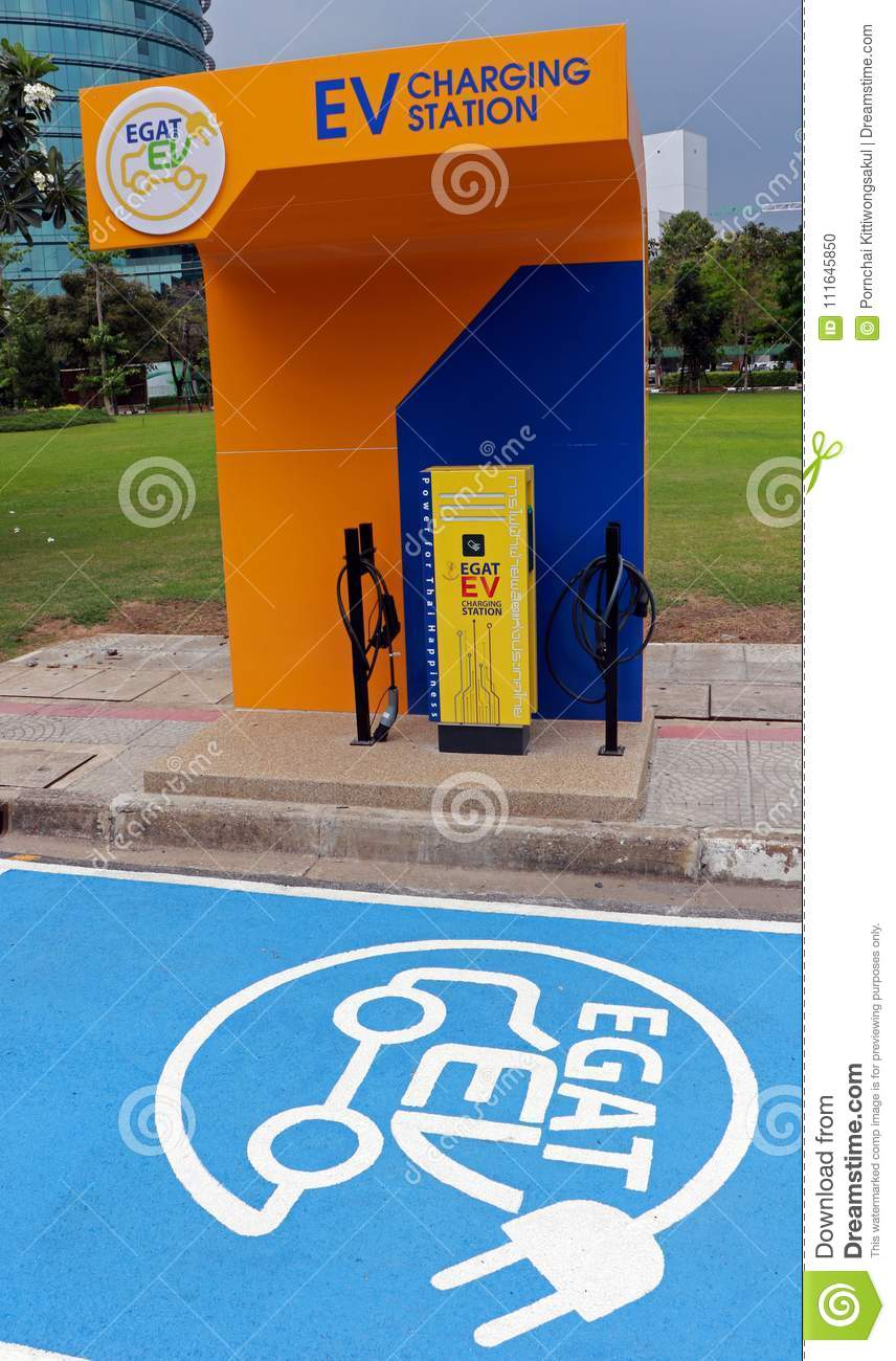 An Electric Vehicle Charging Station Editorial Image - Image