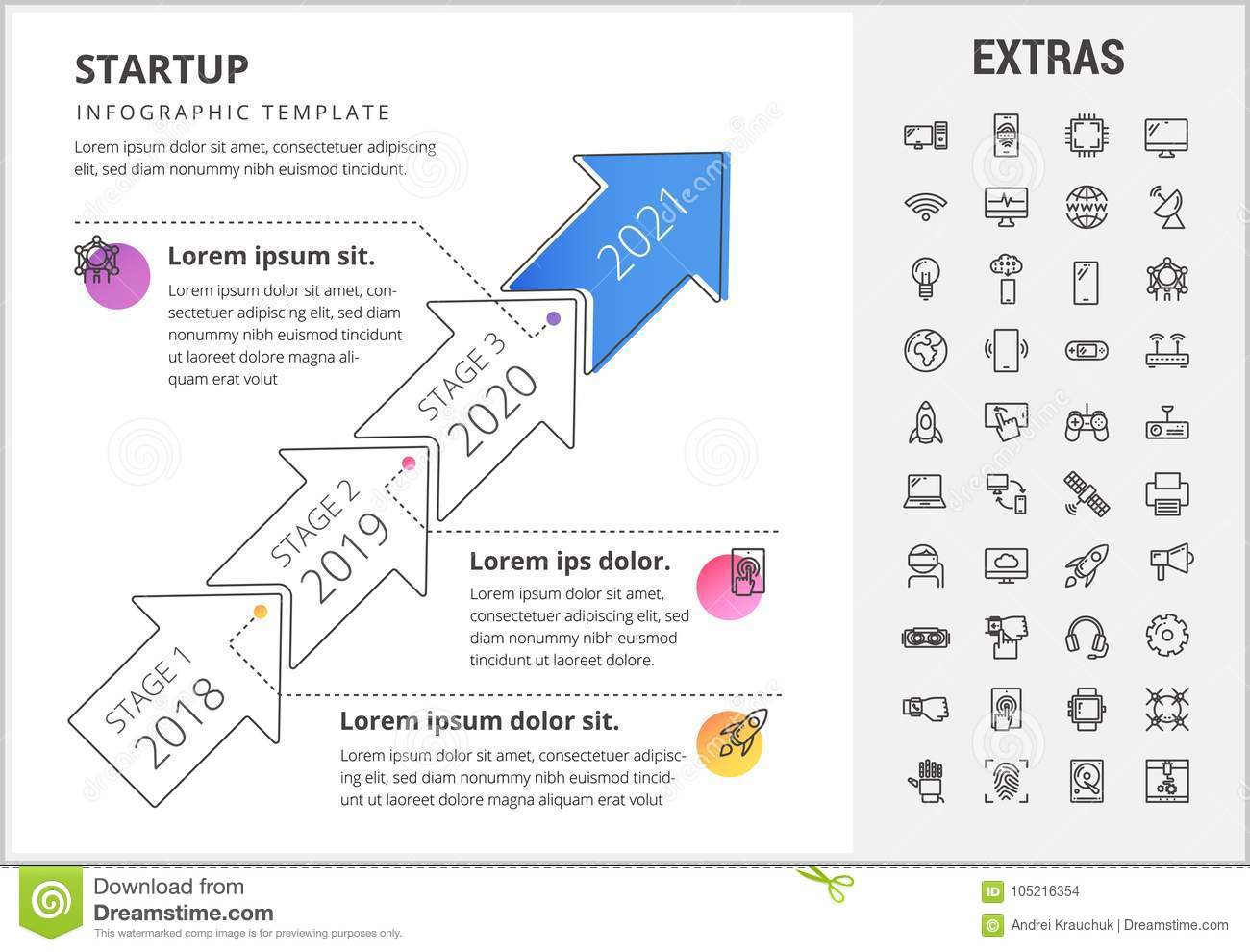 Startup Infographic Template, Elements And Icons  Stock