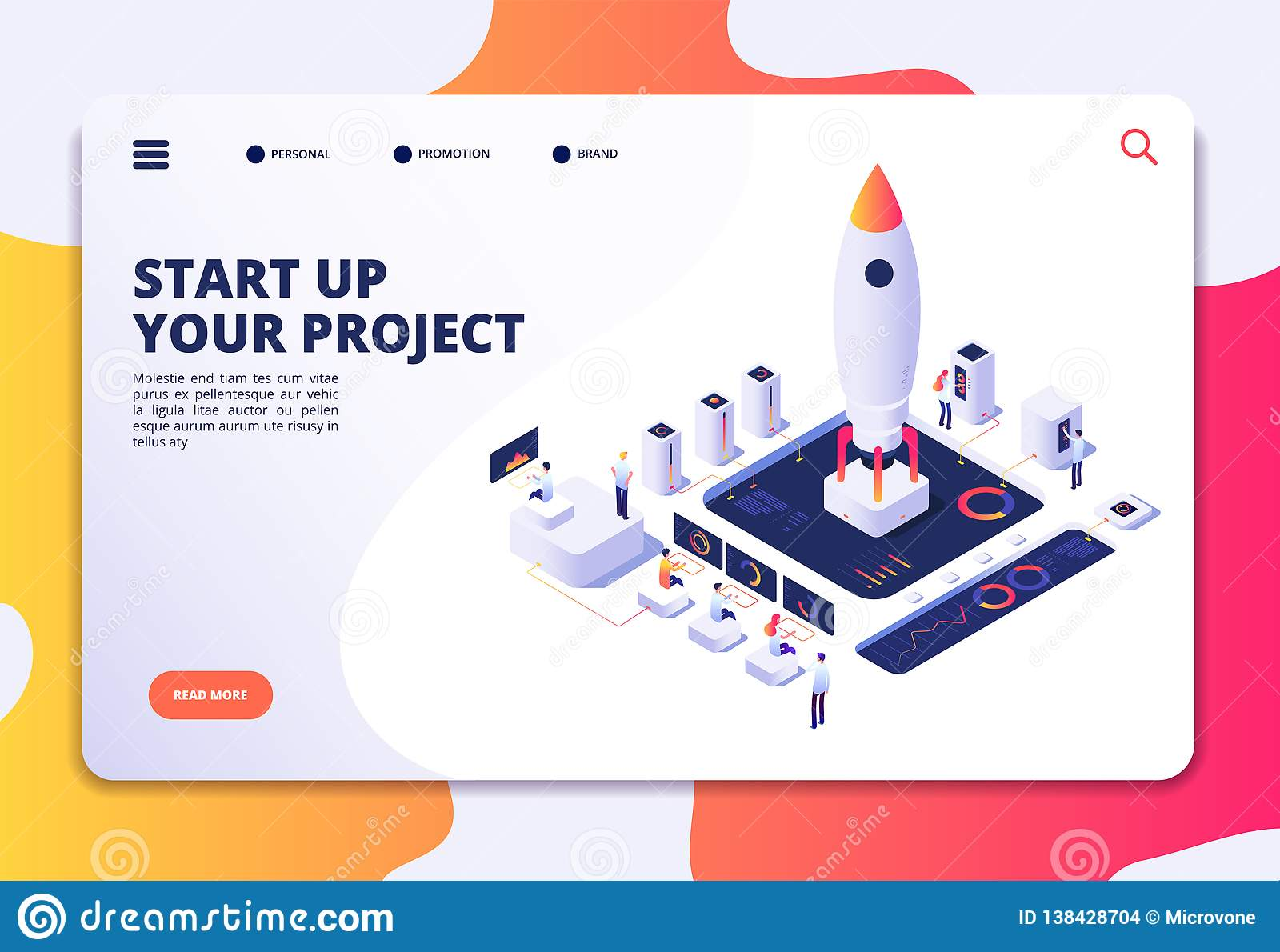 Startup landing page. Successful project launch, isometric rocket people at dashboard. Creative business, customized