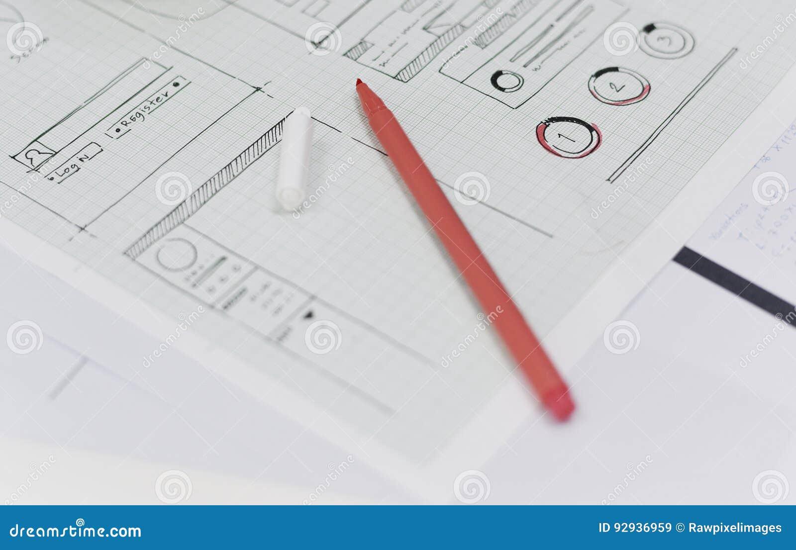 Startup orientering för design för affärsWebsiteinnehåll på papper