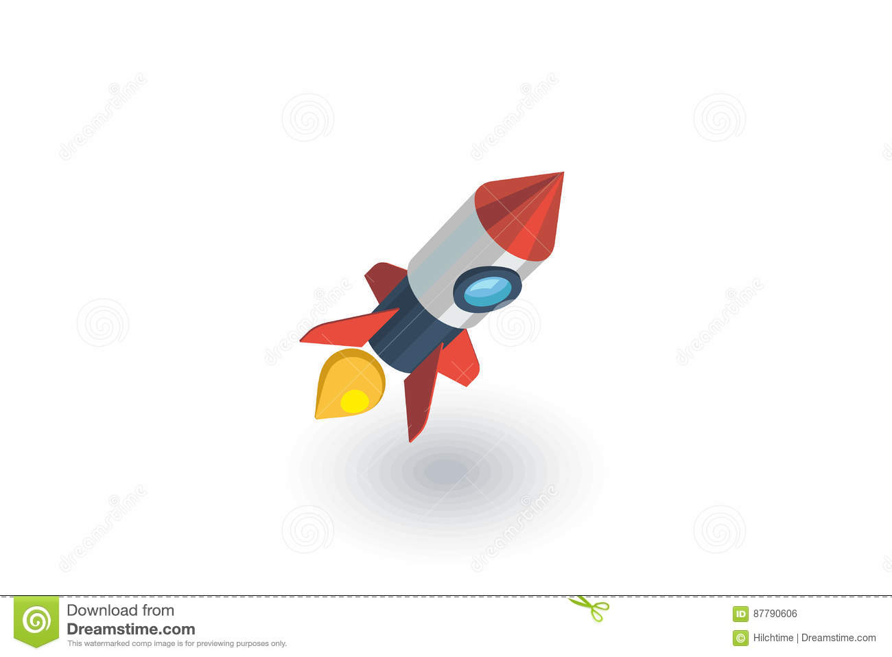 Startup, rocket launch isometric flat icon. 3d vector