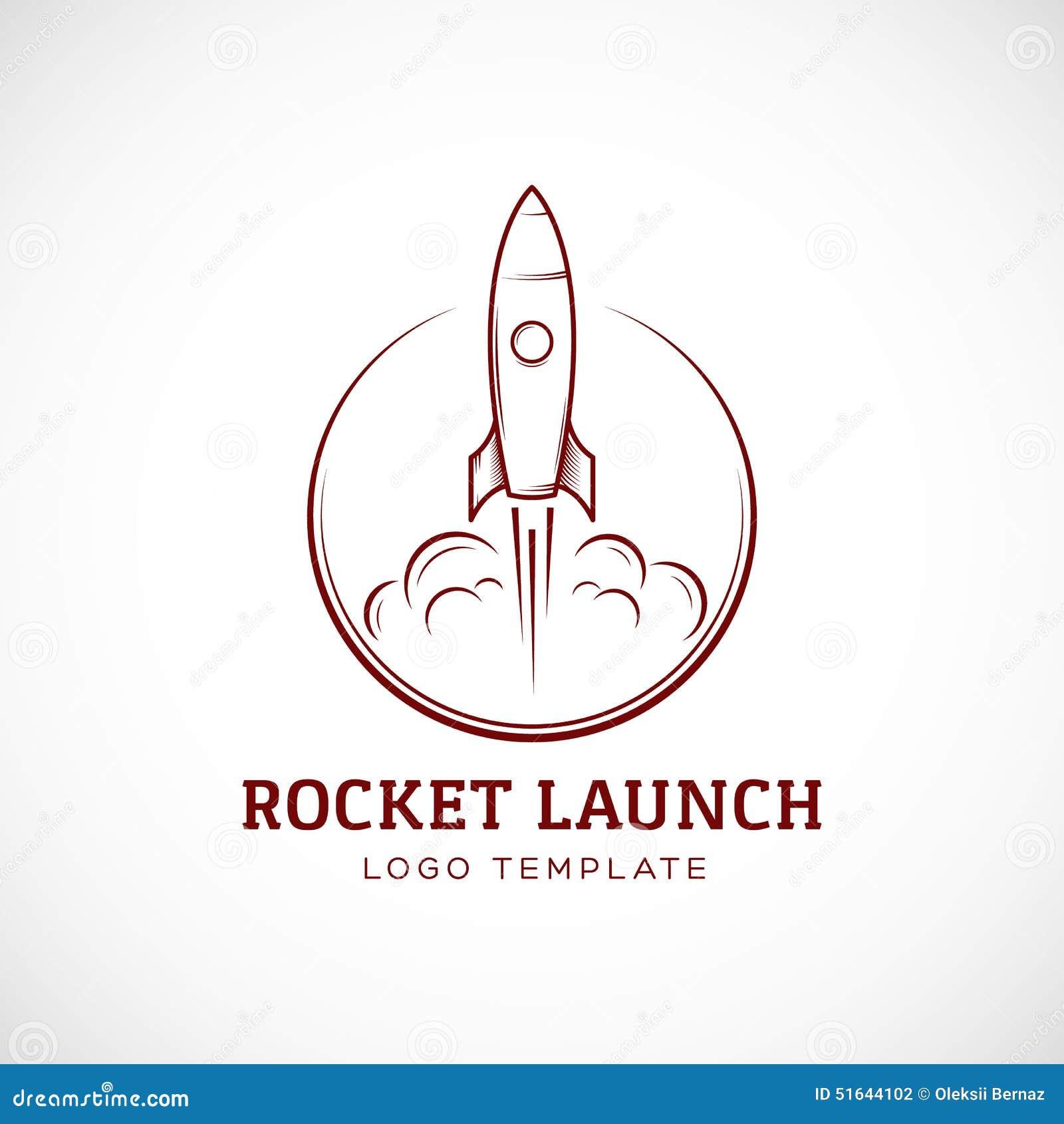 startup rocket space ship abstract vector logo stock