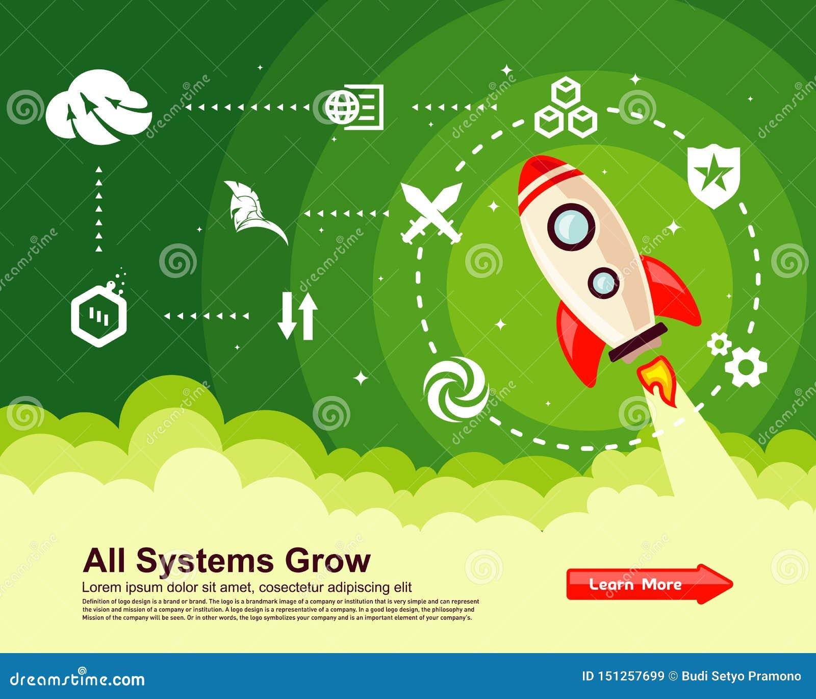 Flat Style Responsive Webdesign Technology Stock Vector: Startup Simple Rocket Web Design, Responsive Web Design