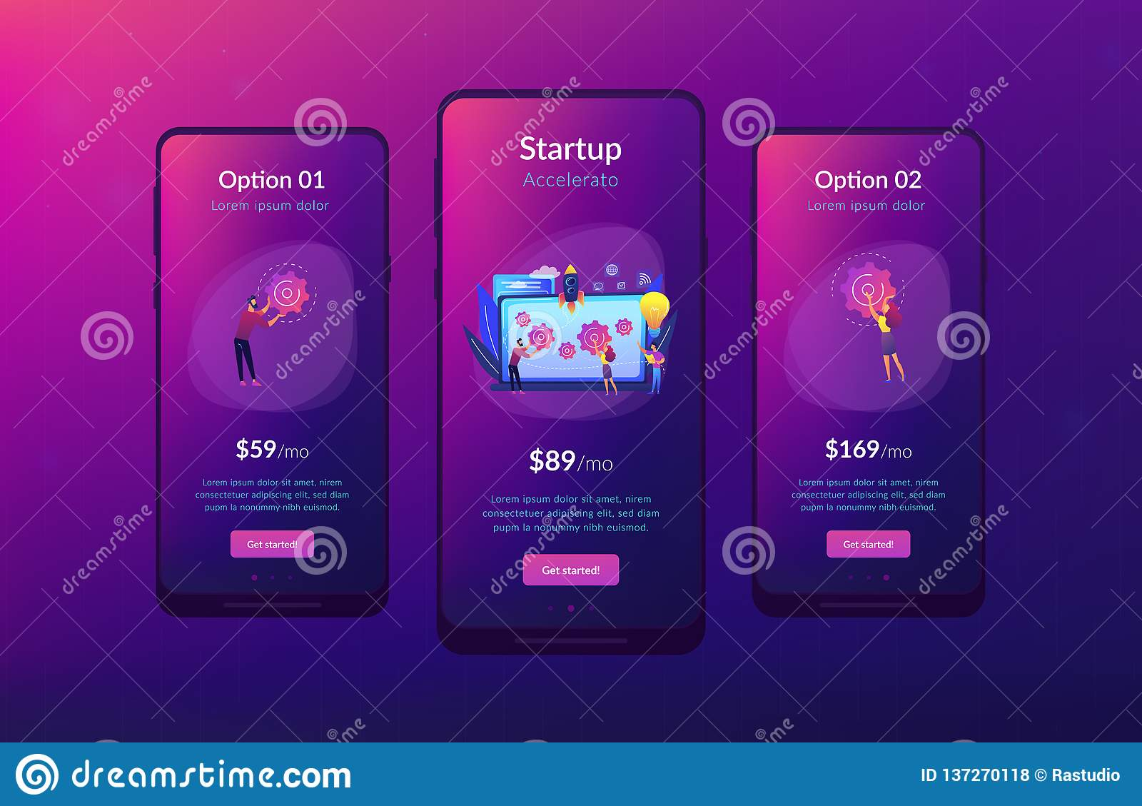 Startup Accelerator App Interface Template  Stock Vector