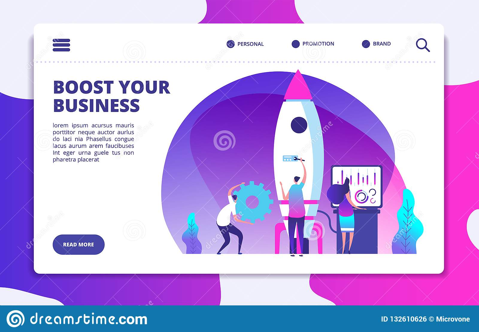 Startup website landing page. People launching rocket. Boost business easy. Customized vector concept