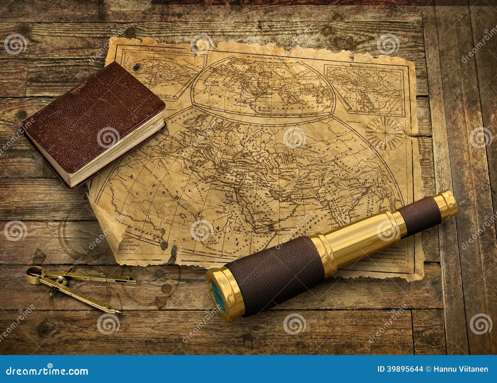 Stary świat mapa z teleskopem