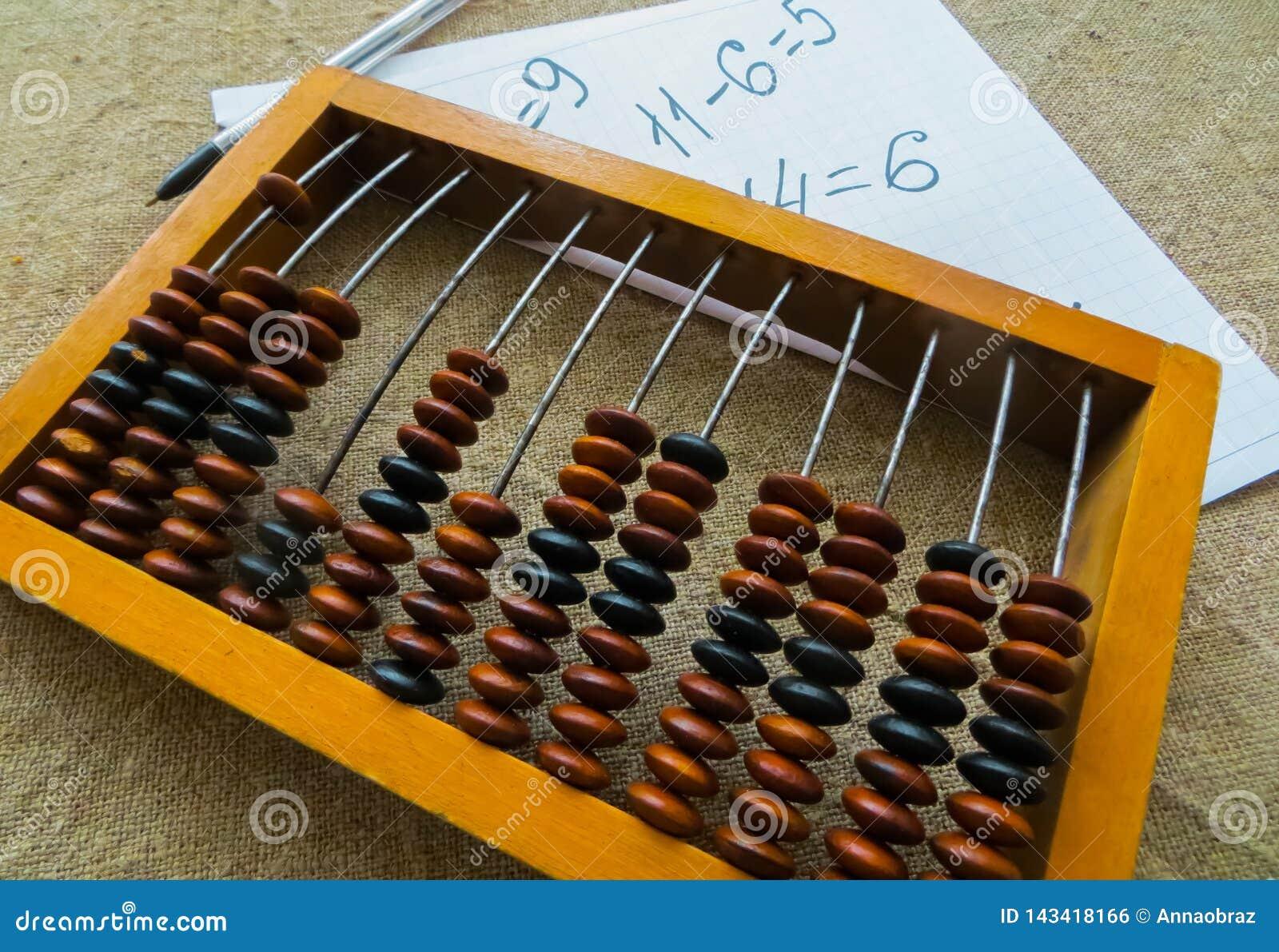 Stary abakus, z pomocą którego produkował wszystkie matematycznie obliczenia po środku zeszłego wieka