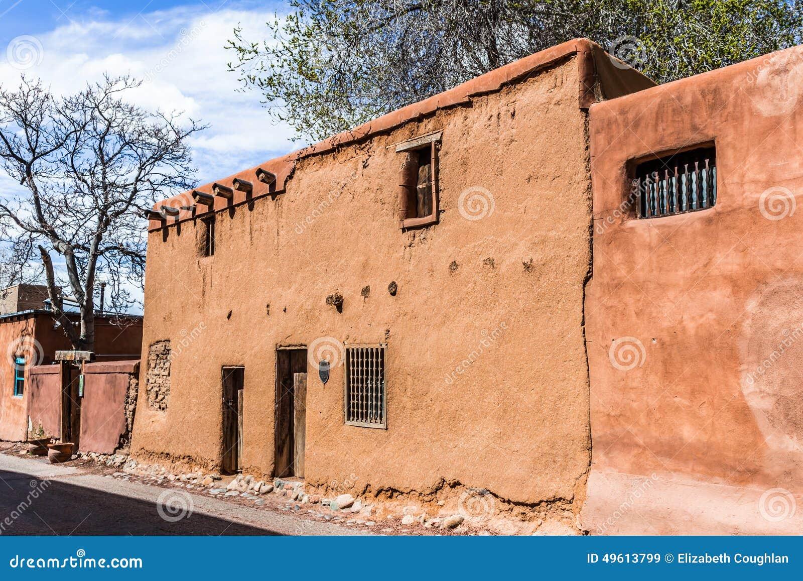 Stary Adobe dom, Santa FE, Nowy - Mexico, usa