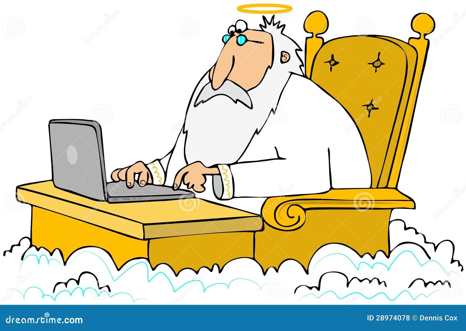 Stary anioł używać laptop