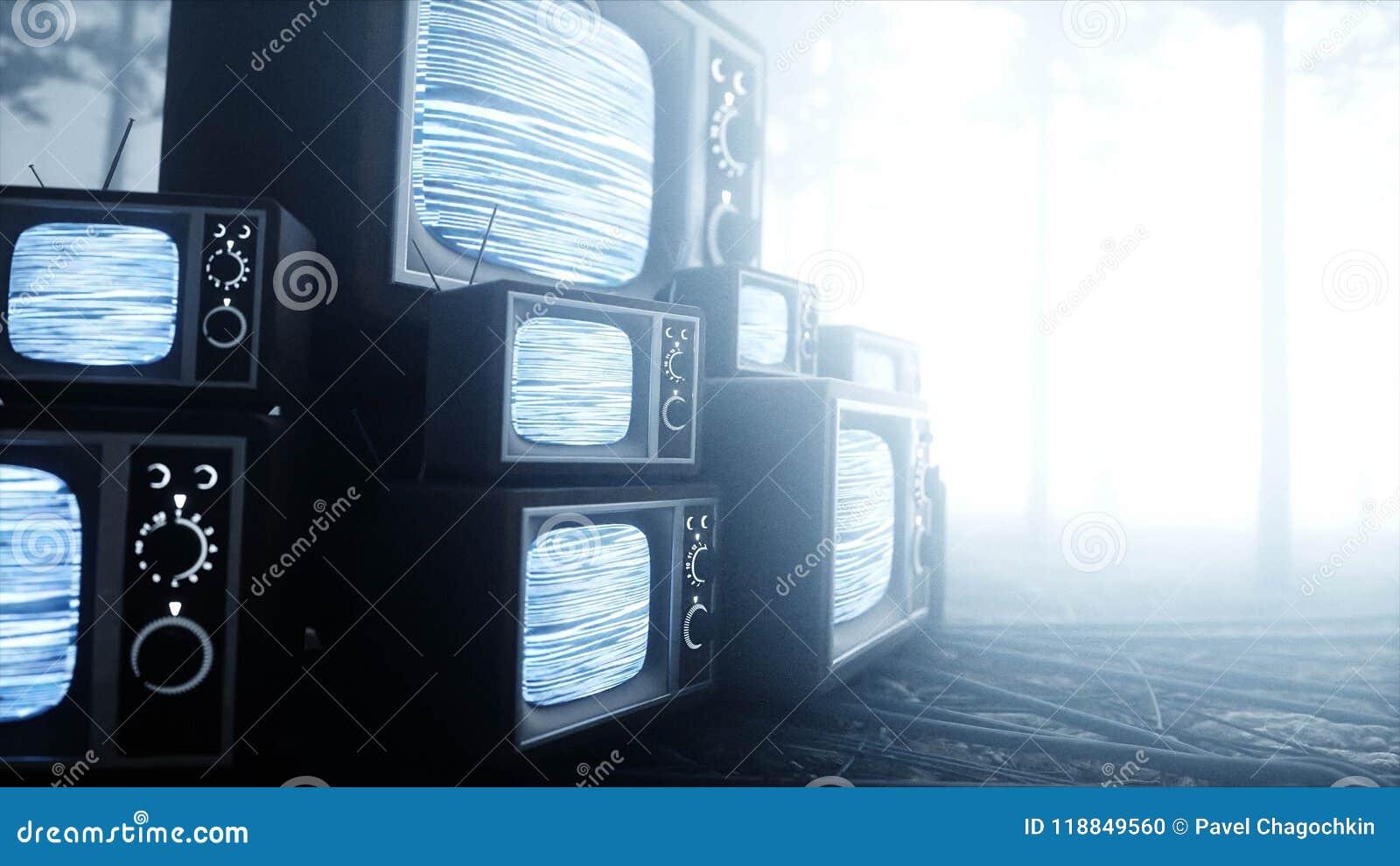 Stary antyk TV w mgły nocy lasowym strachu i horrorze Mistic pojęcie wyemitowany 3d rendering