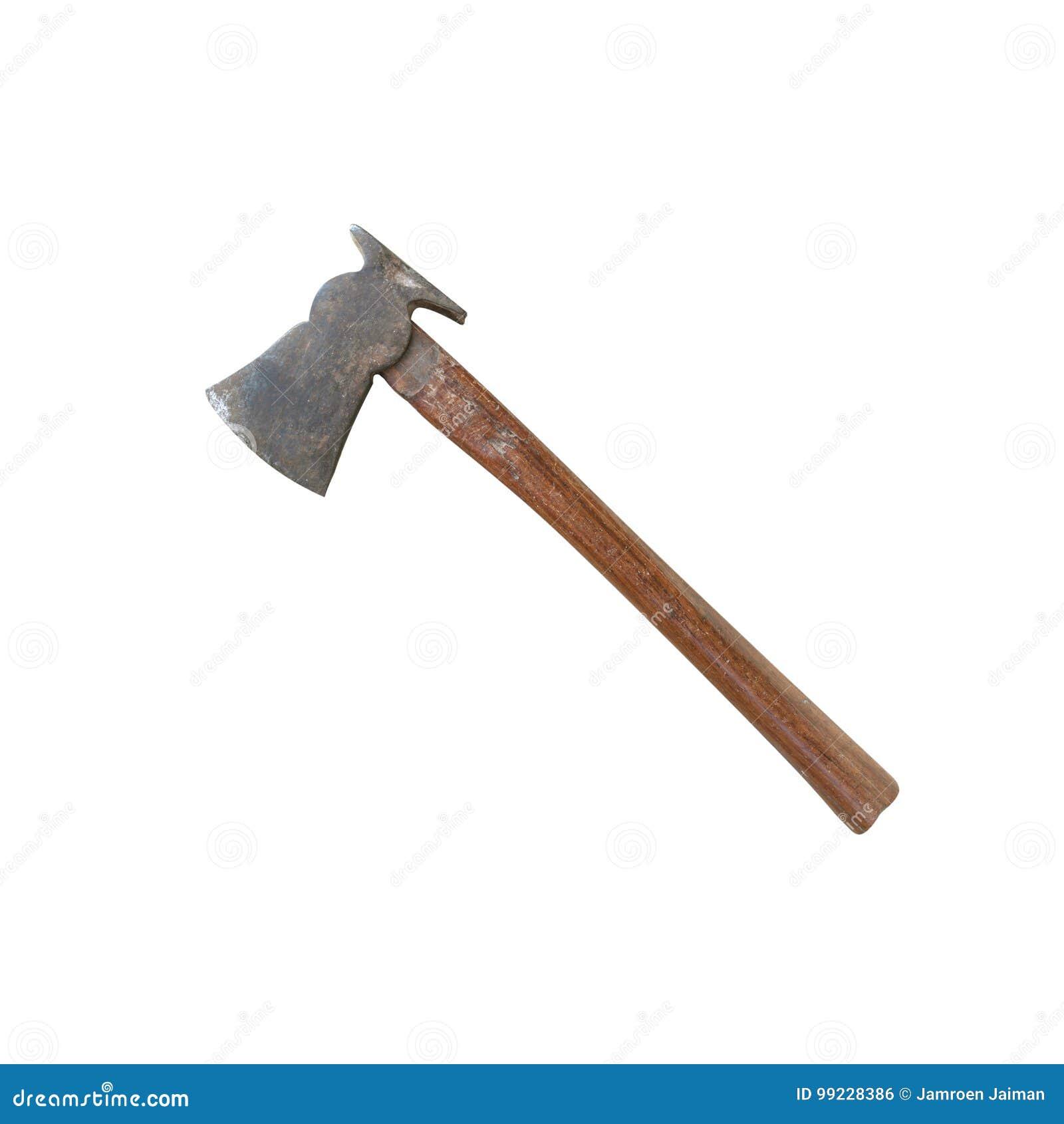 Stary ax z drewnianą rękojeścią odizolowywającą na białym tle z ścinek ścieżkami
