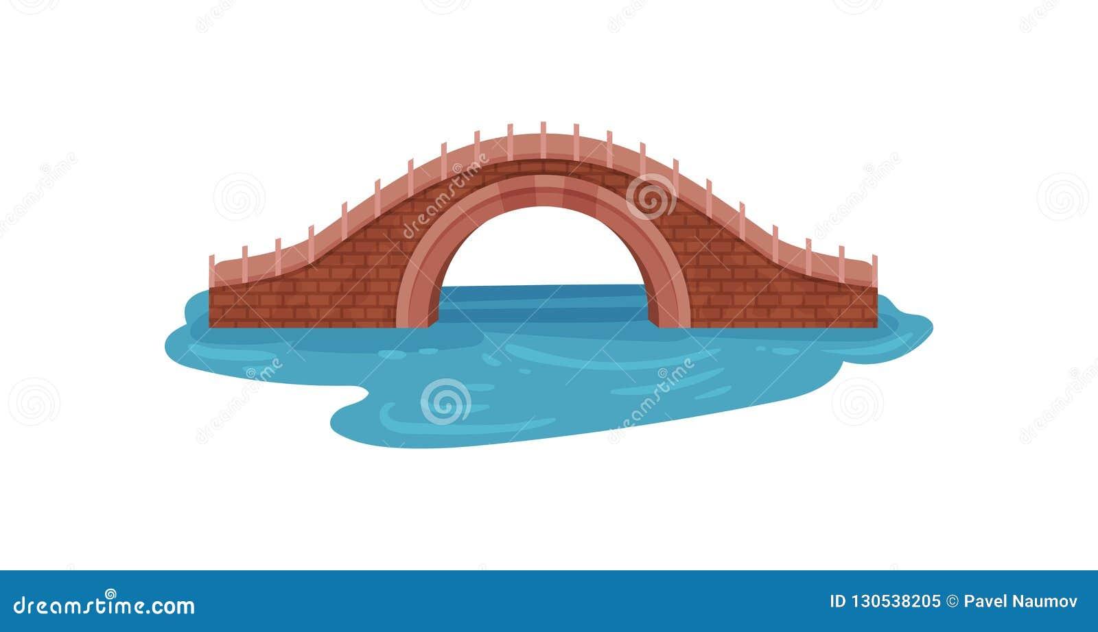 Stary cegła most nad błękitną rzeką Łękowaty footbridge Krajobrazowy element dla miasto parka Architektura temat Płaski wektor