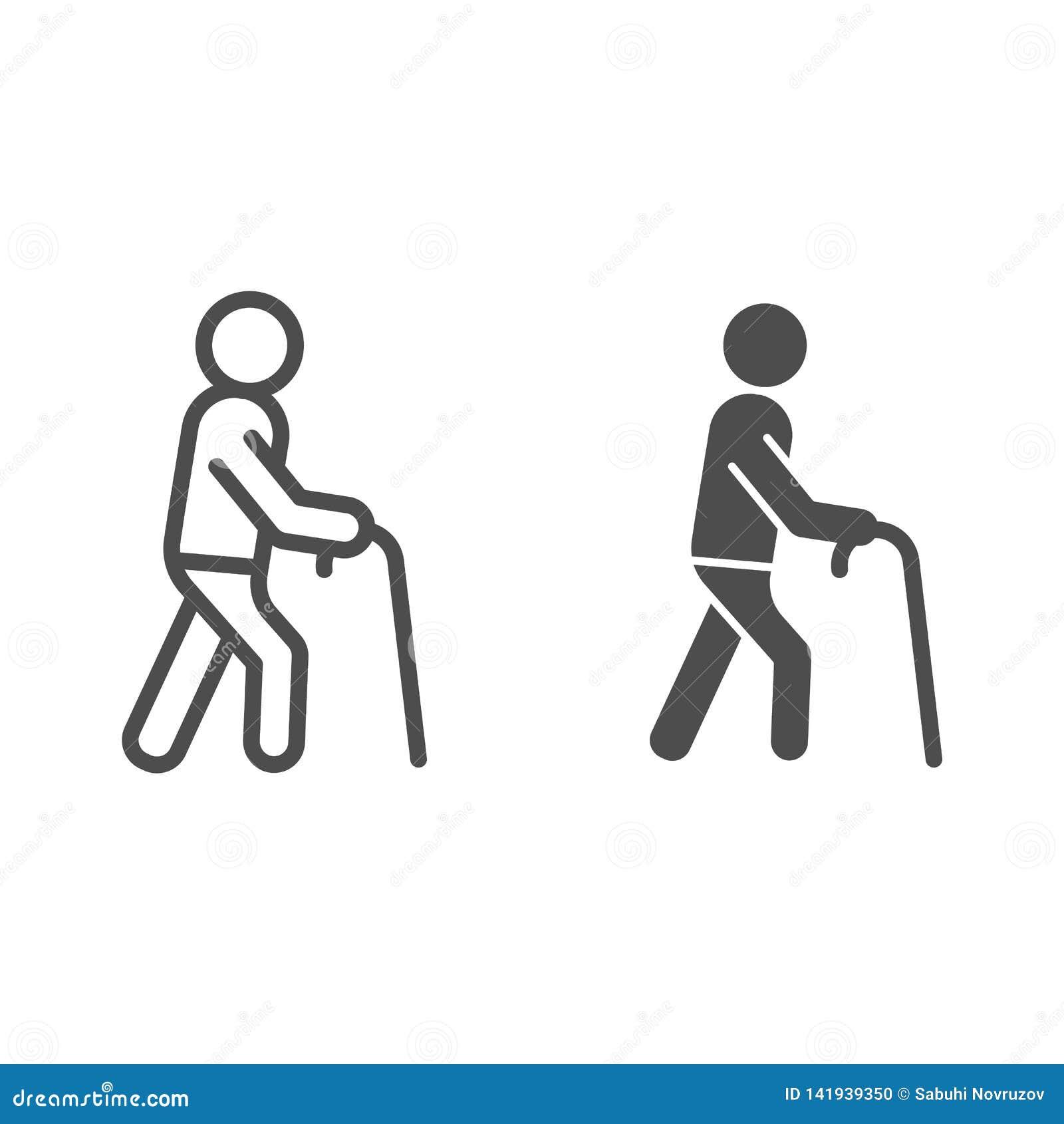 Stary człowiek linia i glif ikona Mężczyzna z chodzącego kija wektorową ilustracją odizolowywającą na bielu Starej osoby konturu