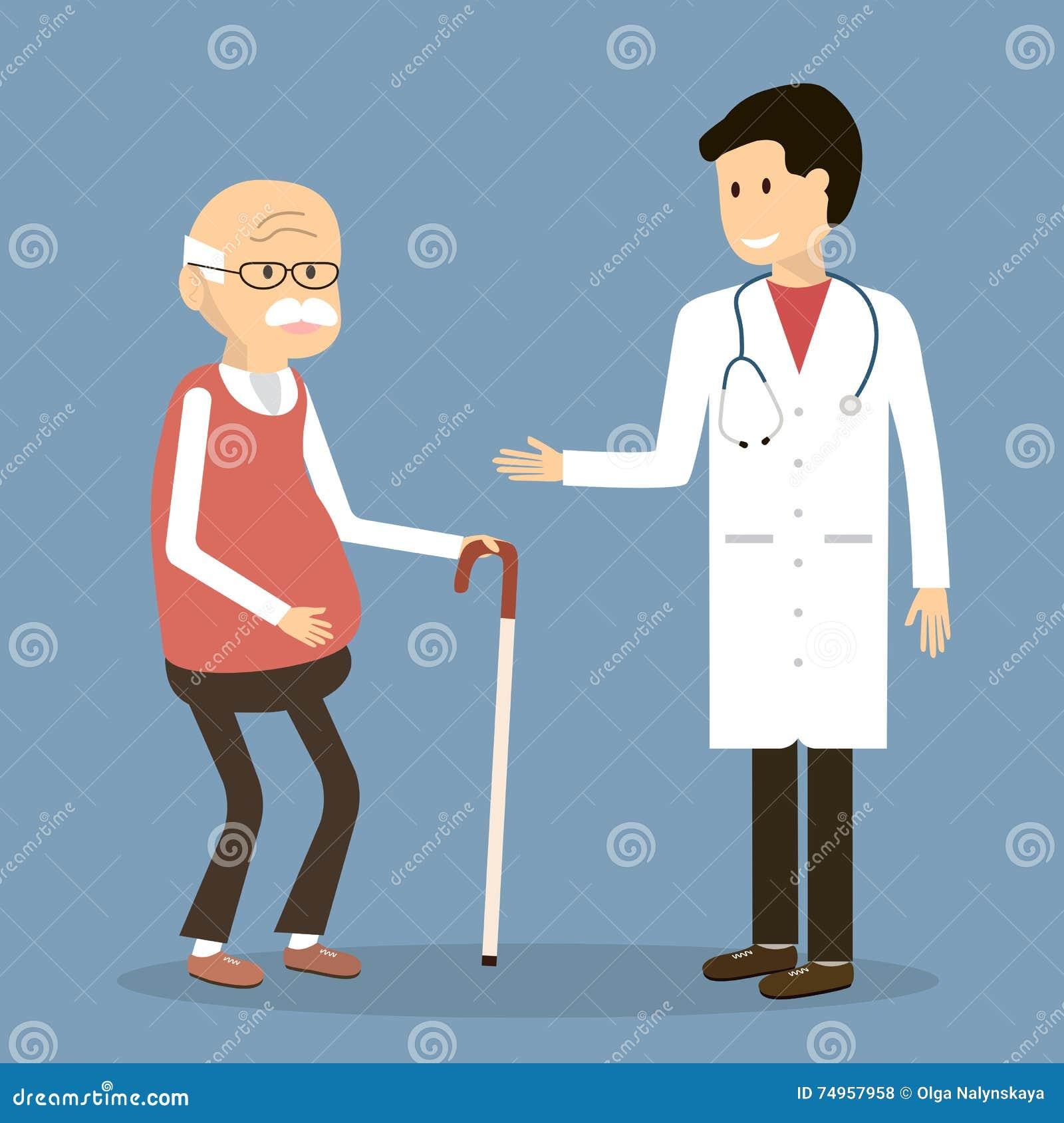 Stary Człowiek wizyta lekarka