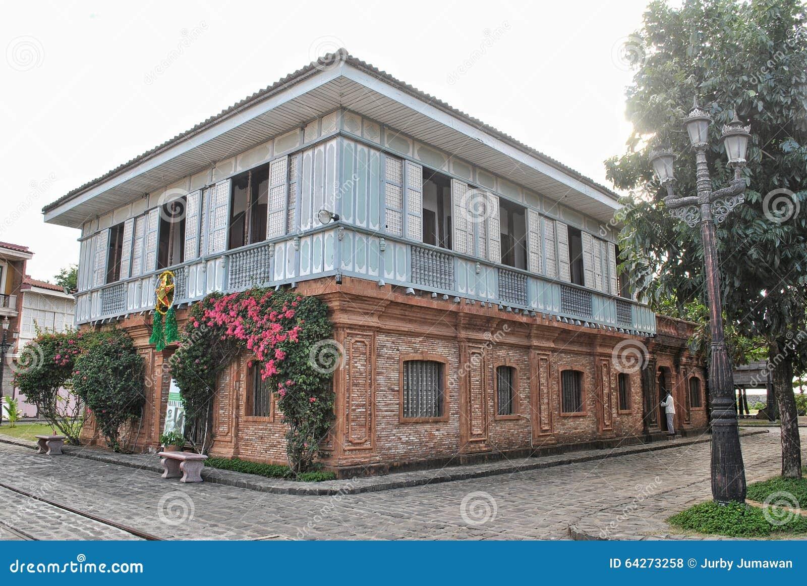 Stary Dom Zamożna Rodzina W Filipiny Podczas Hiszpańskiej Kolonialnej Ery Zdjęcie Stock