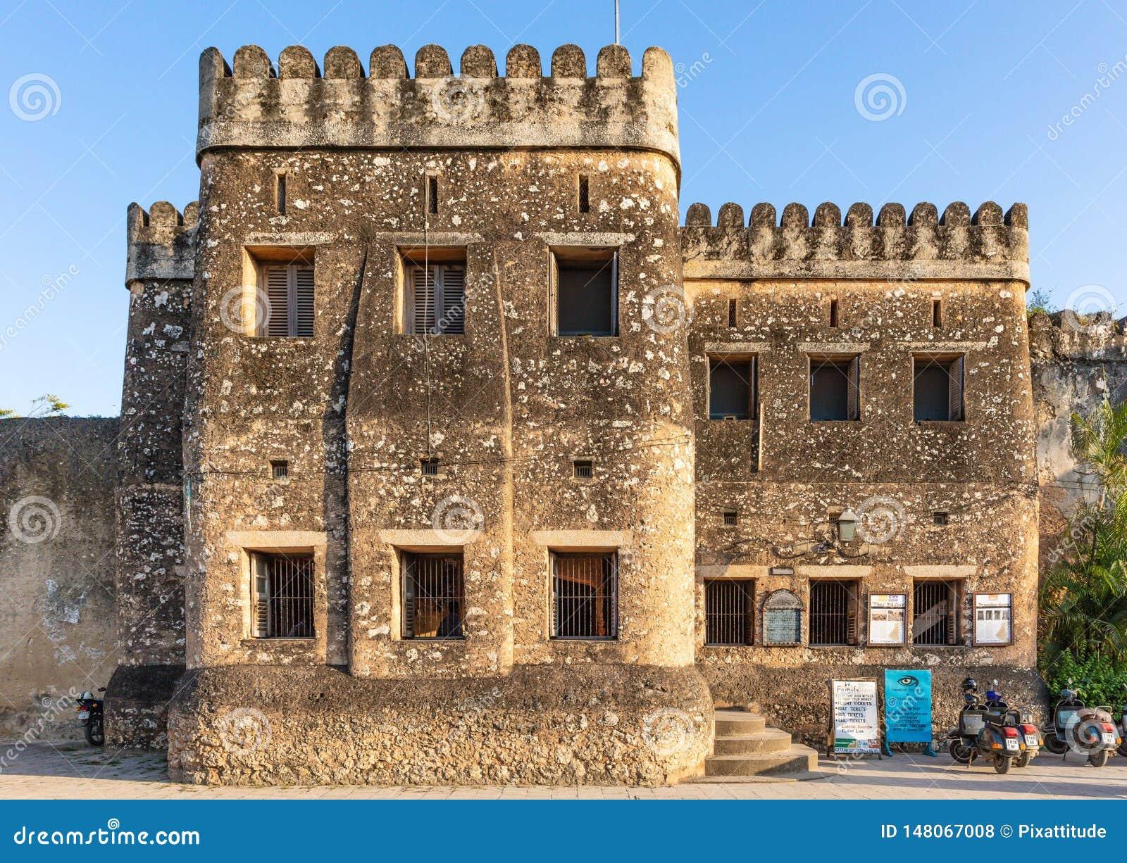 Stary fortu Ngome Kongwe kamie? Grodzki Unguja Zanzibar Tanzania