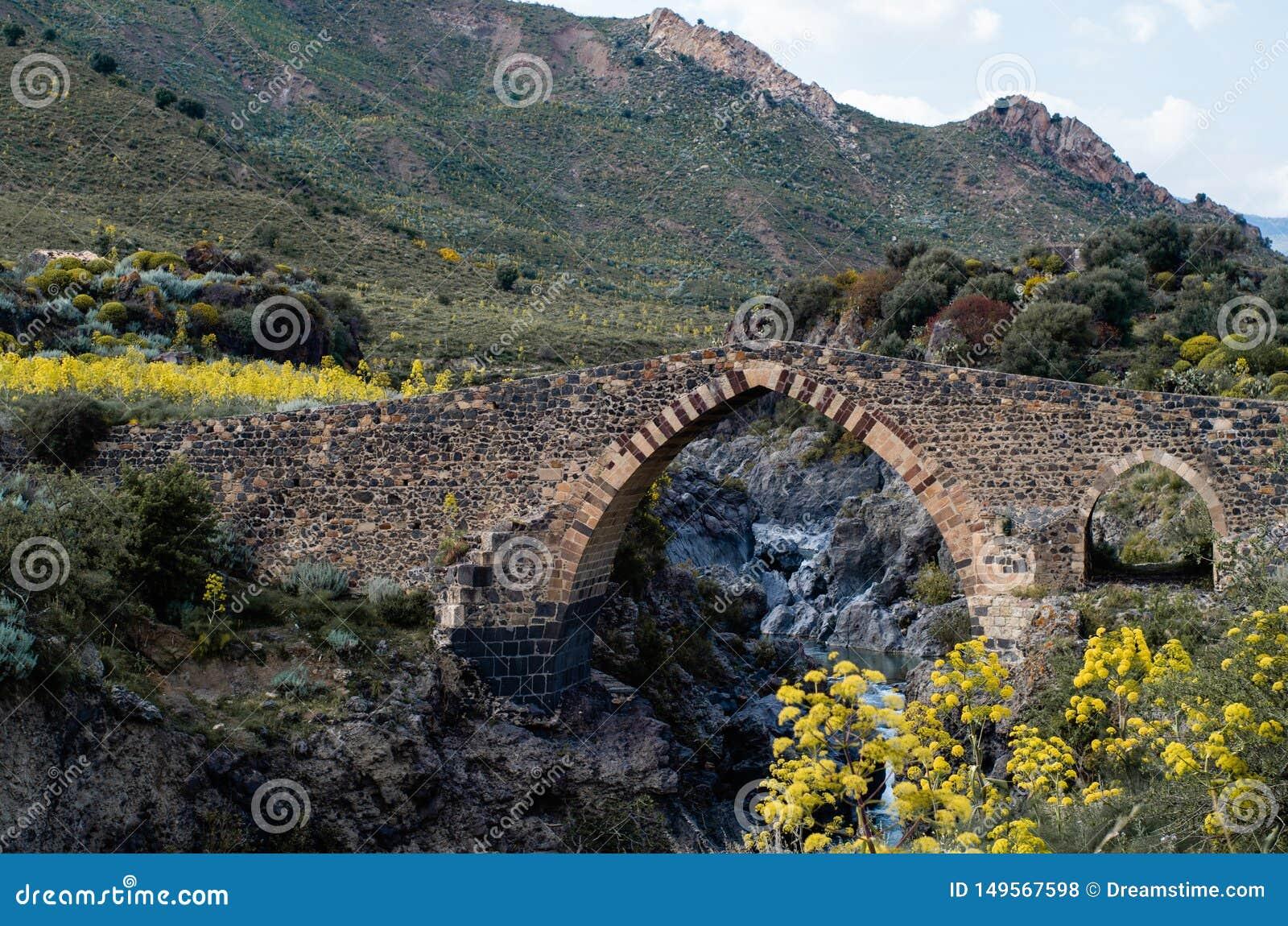 Stary kamienia most nad rzek? w g?rach