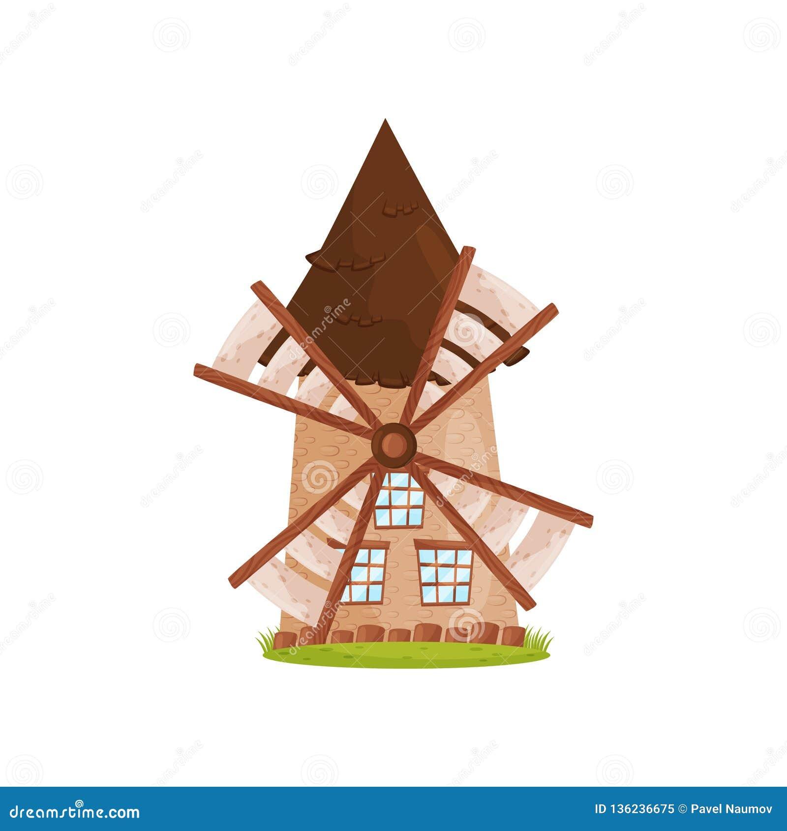 Stary kamienny wiatraczek z drewnianymi żaglami i dużymi okno Rolnicza budowa Rolny temat Kreskówka wektorowy projekt