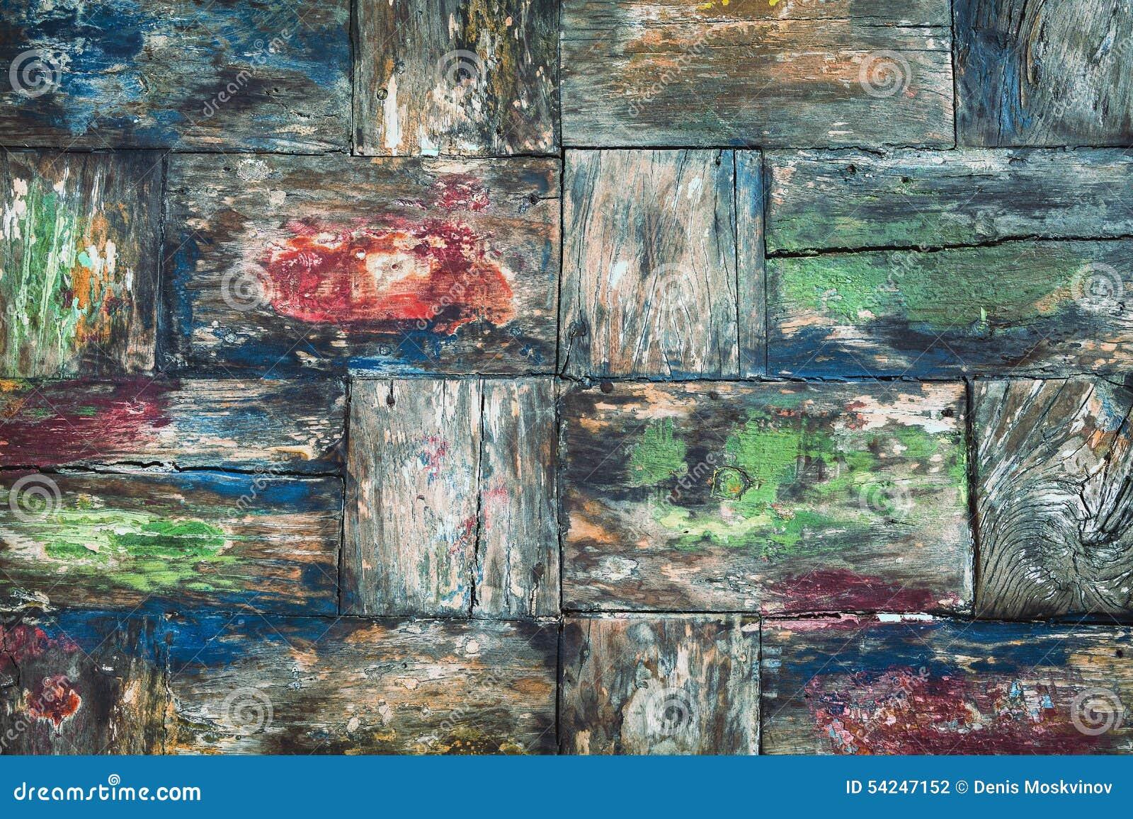 Stary kolorowy tekowy drewniany biurka tło