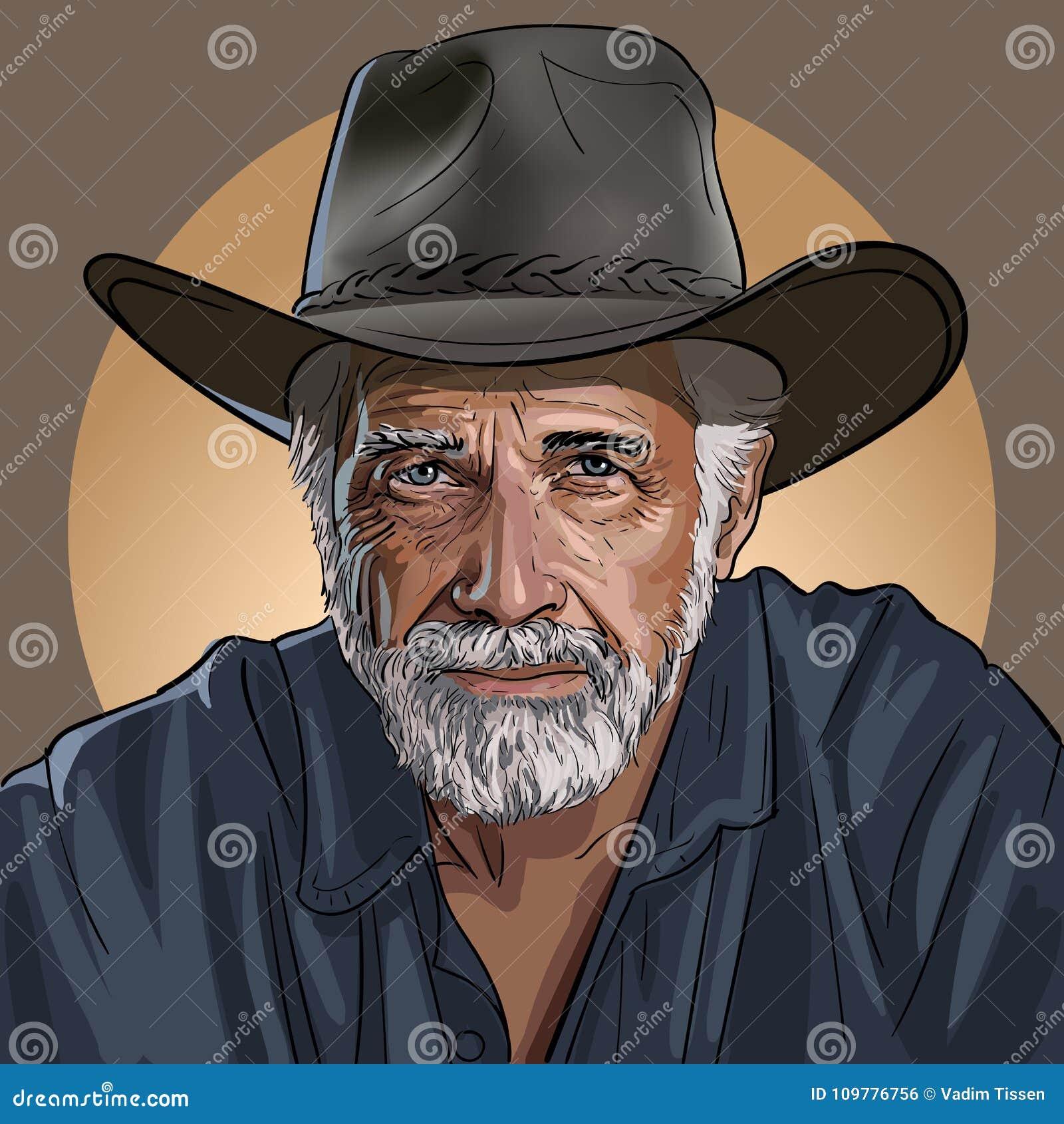 Stary mądry kowboj w kapeluszu