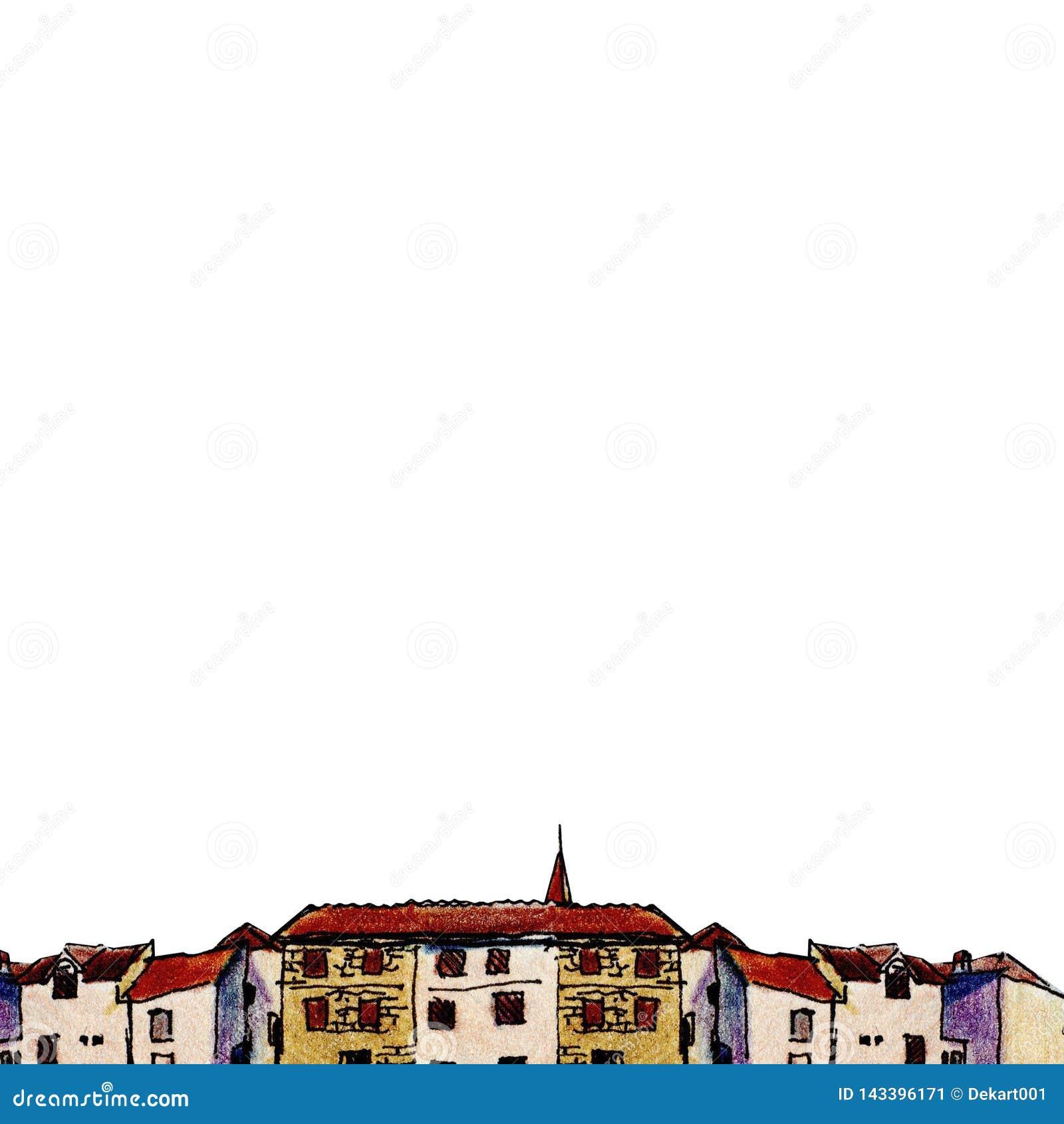 Stary miasteczko w nakreślenie stylu i odizolowywający na białym tle, kolorowy ołówek