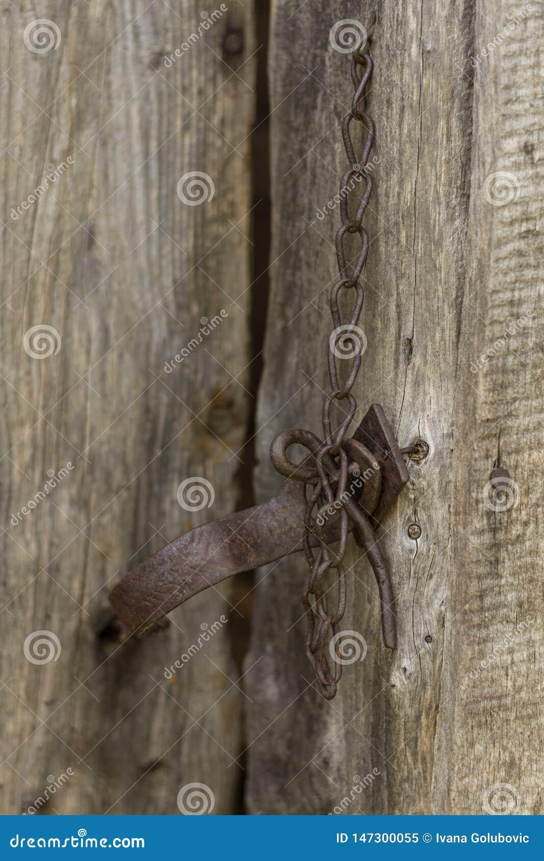 Stary ośniedziały drzwiowy kędziorek z łańcuchem