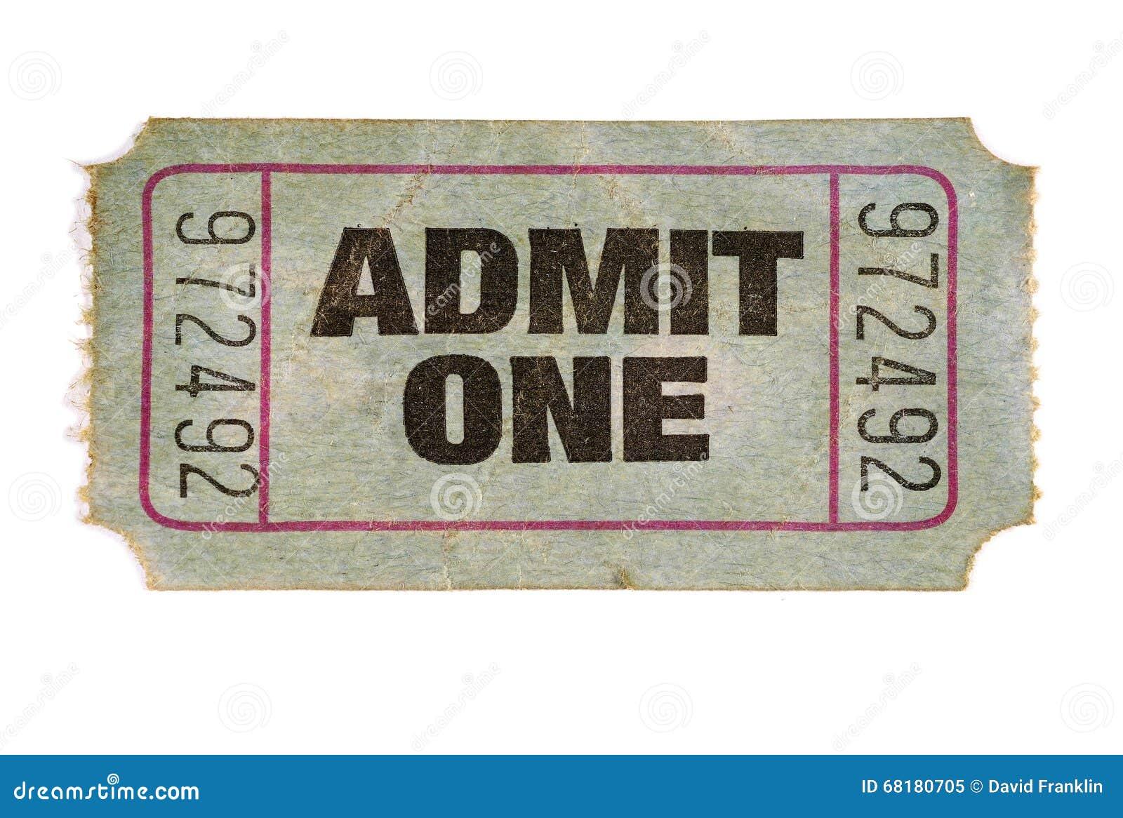 Stary pobrudzony drzejący przyznaje jeden bilet, biały tło