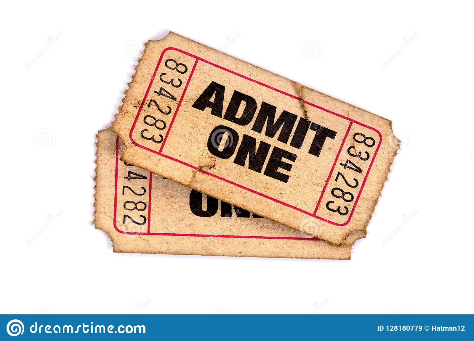 Stary przyznaje jeden poszarpani używać bilety odizolowywali białego tło