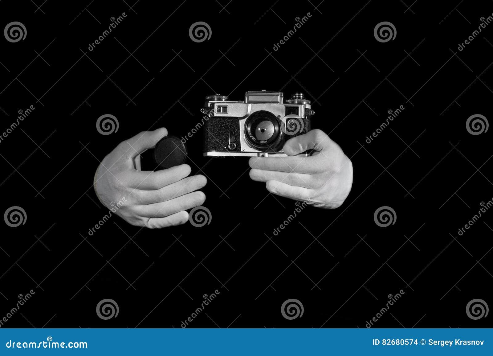 Stary rangefinder rocznik i retro fotografii kamera z koloru skutkiem