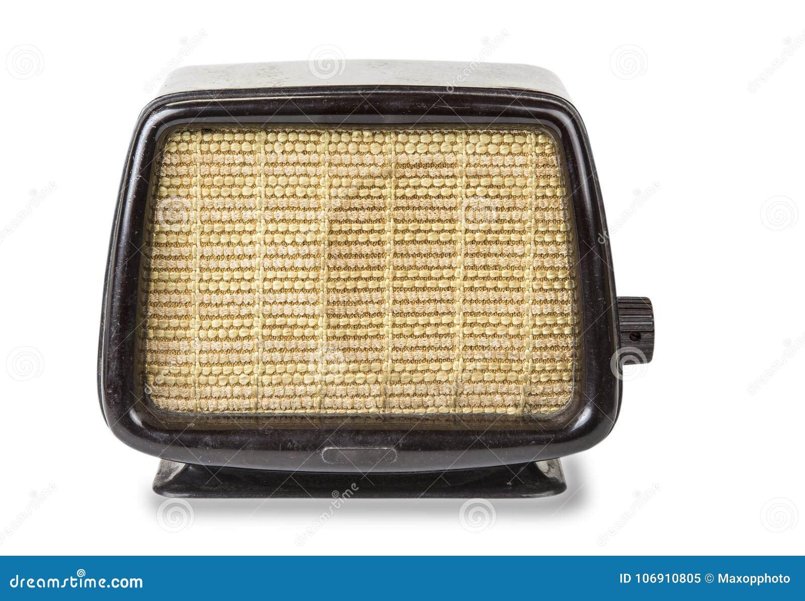 Stary retro radio od lata pięćdziesiąte na białym tle