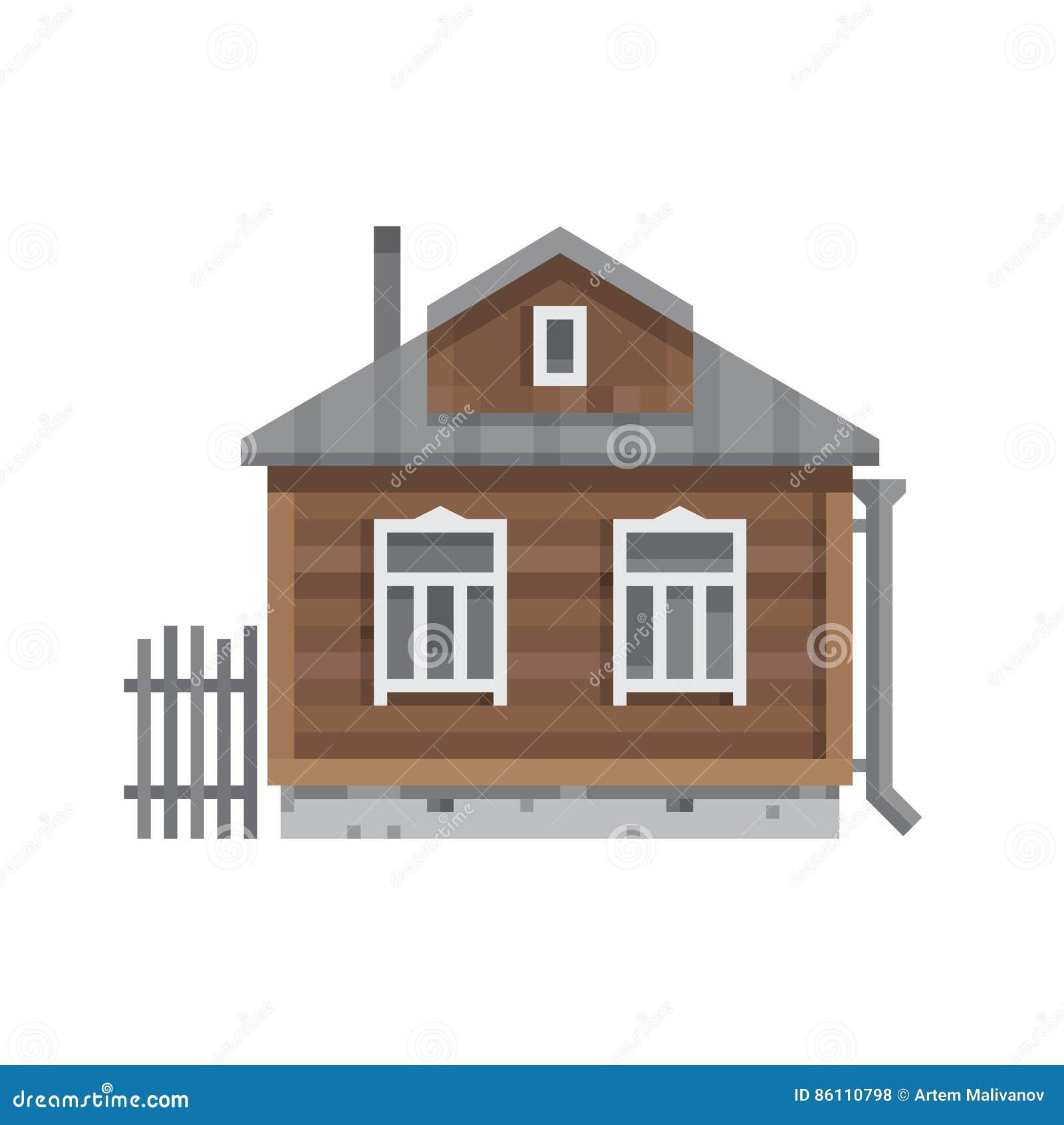 Stary Rosyjski dom na wsi Wektorowy mieszkanie