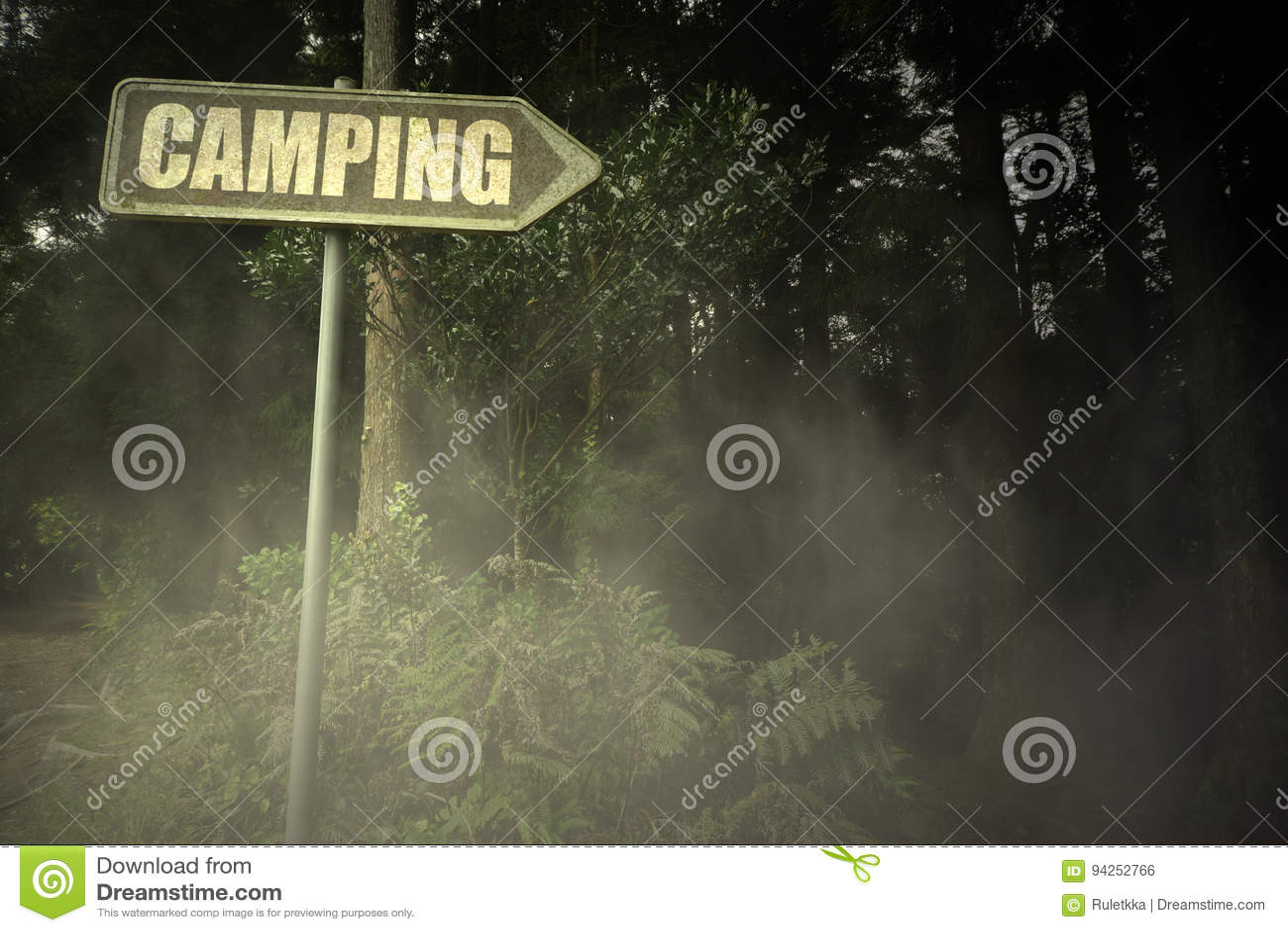 Stary signboard z teksta campingiem blisko ponurego lasu