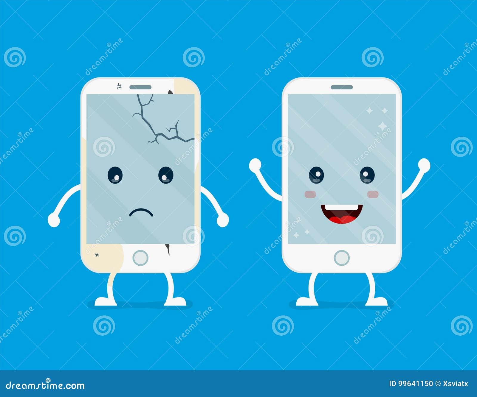Stary smutny łamający telefon z pęknięciami i narysami