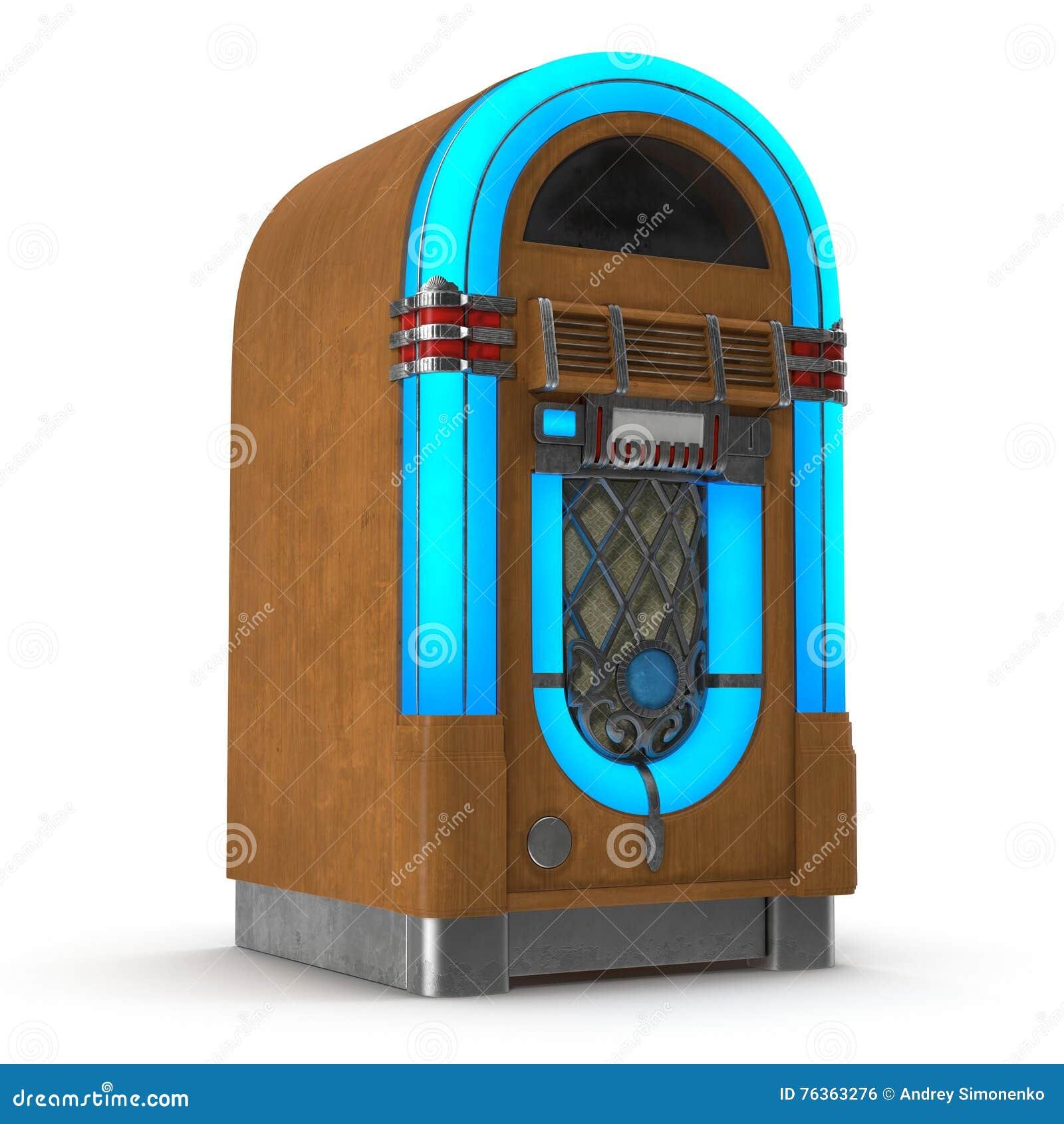 Stary szafa grająca odtwarzacz muzyczny odizolowywający na białej 3D ilustraci
