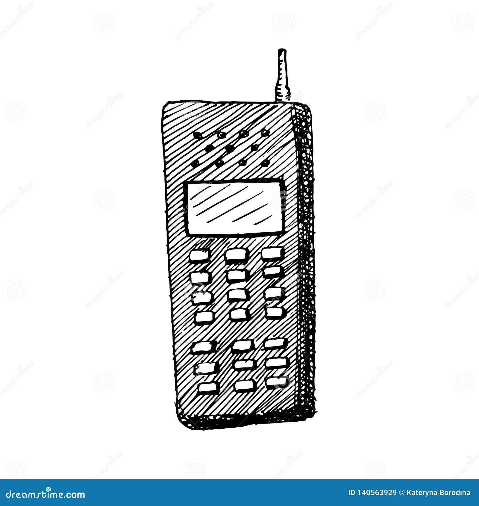 Stary telefon z anteny ręką rysującą odizolowywającą