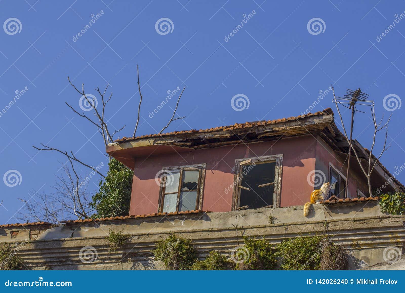 Stary zaniechany budynek z łamanymi okno istanbul