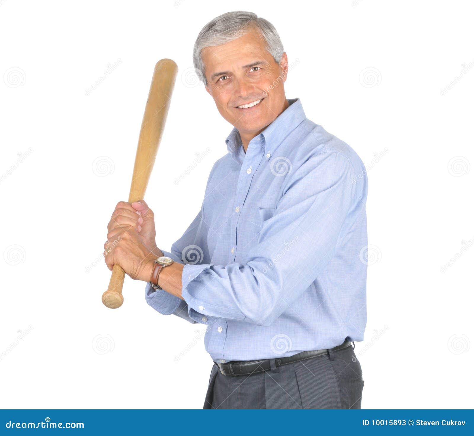 Starzejący się kij bejsbolowy biznesmena środek