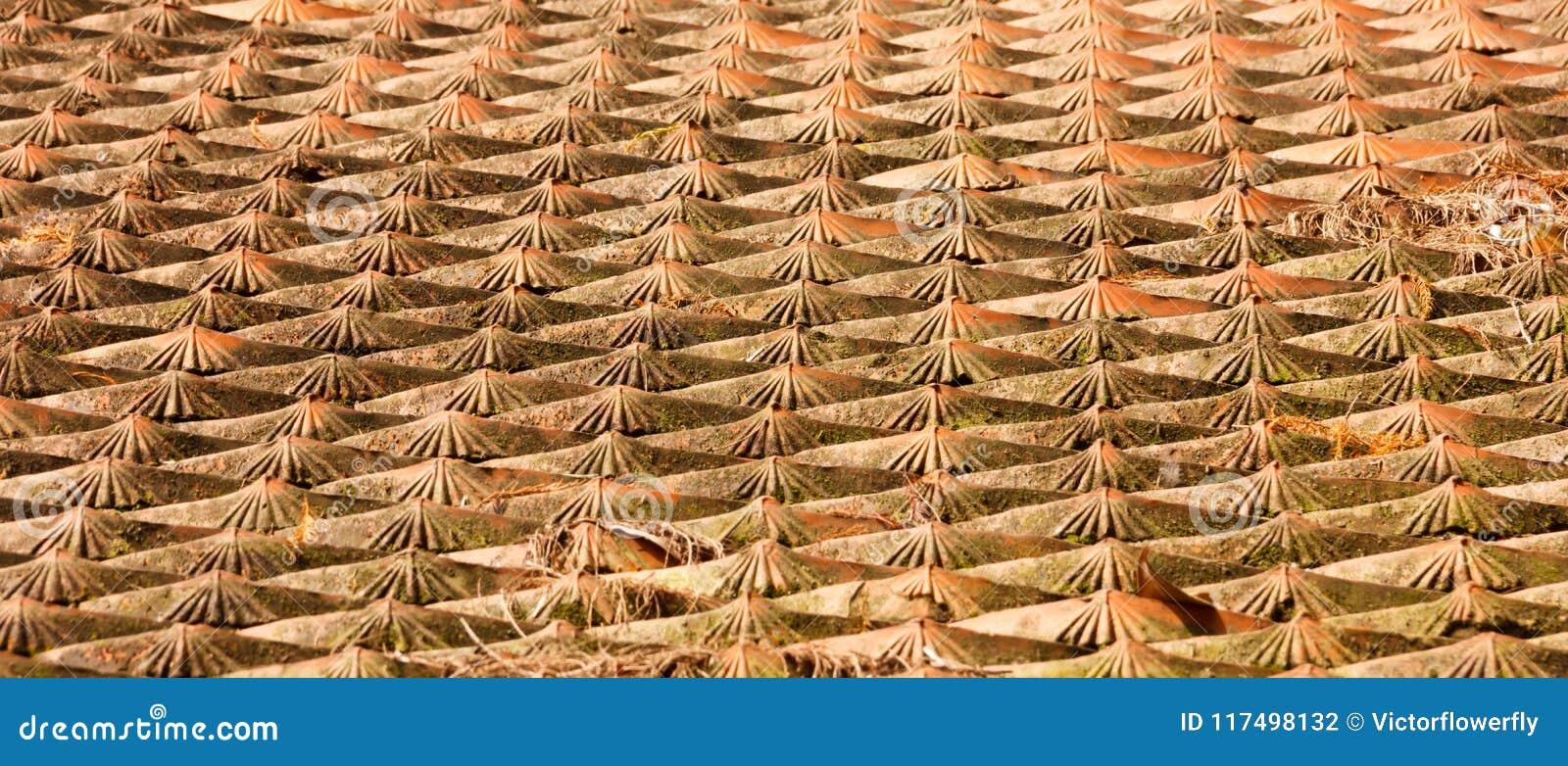 Starzejący się tradycyjny azjatykci dachowej płytki wzoru tło Zewnętrzny architektoniczny orientalny projekt