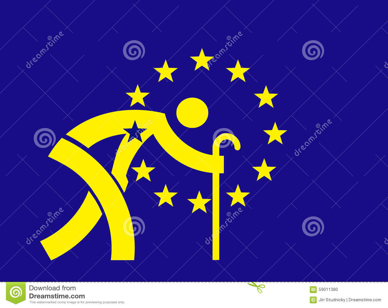 Starzeje się Europa - Europejska Zrzeszeniowa flaga