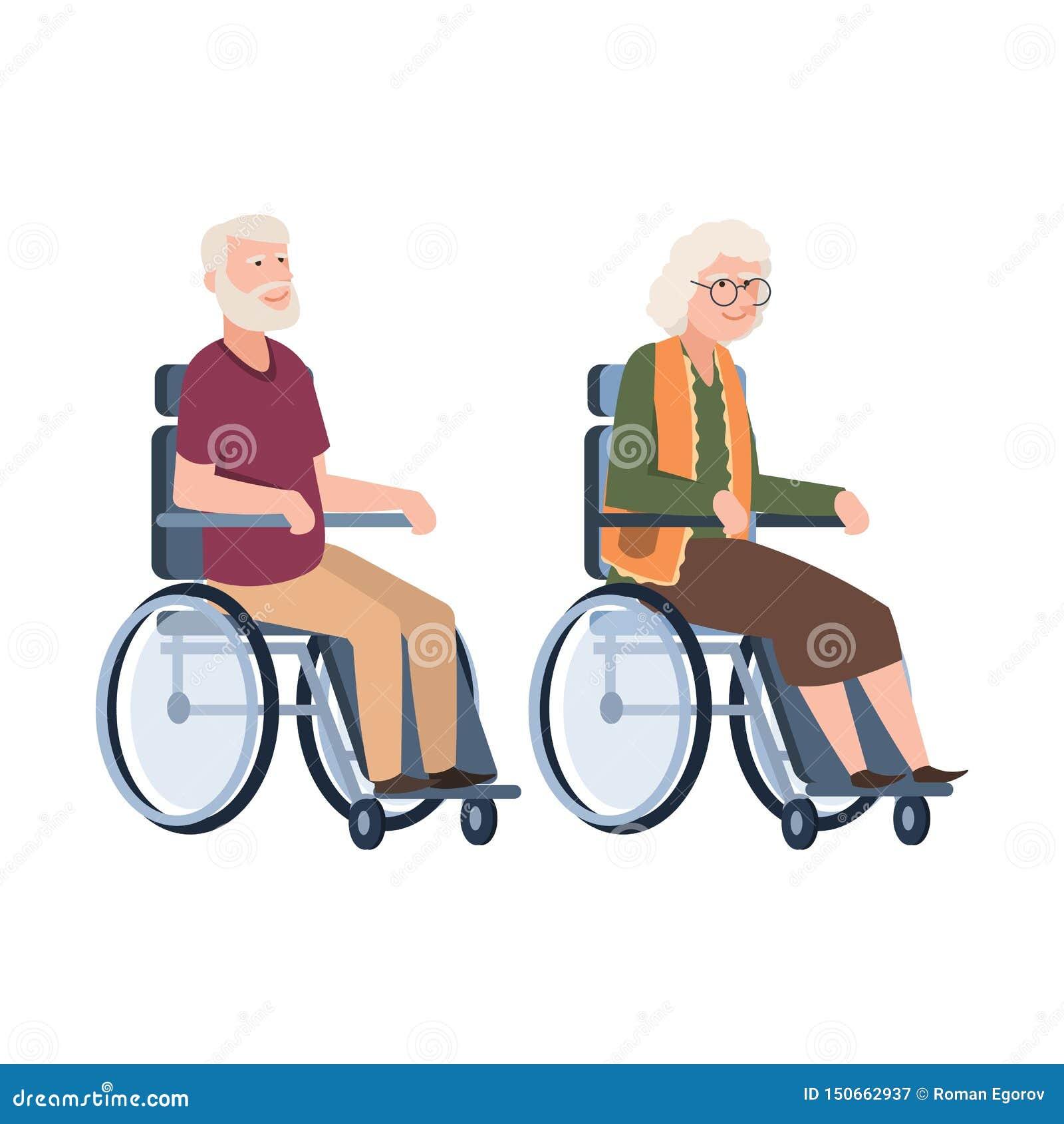 Starzy ludzie obezwładniający Senior w w?zku inwalidzkim Para starszej osoby niepełnosprawna osoba Wektorowy ilustracyjny dziadun