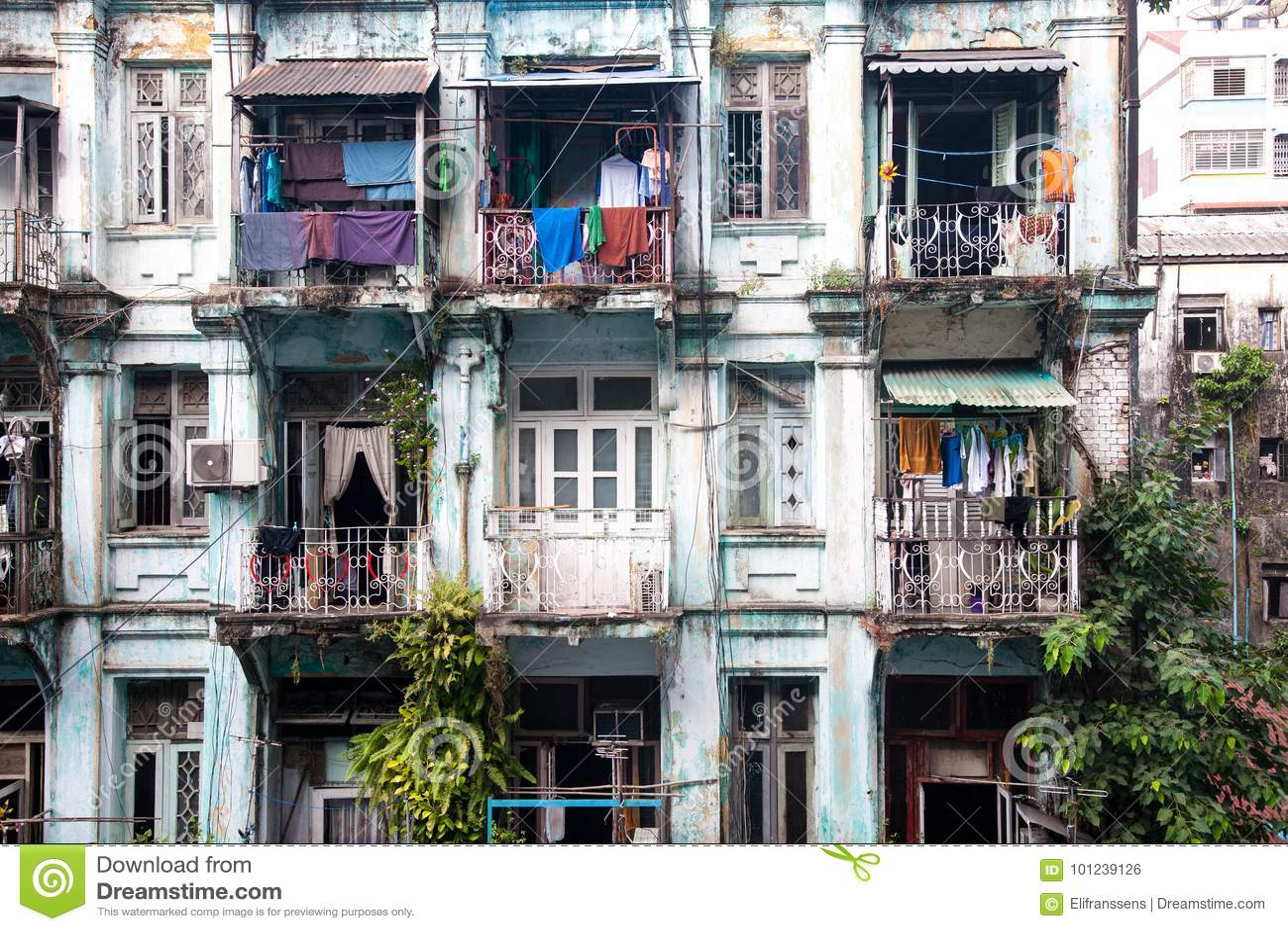 Starzy mieszkania, Yangon, Birma