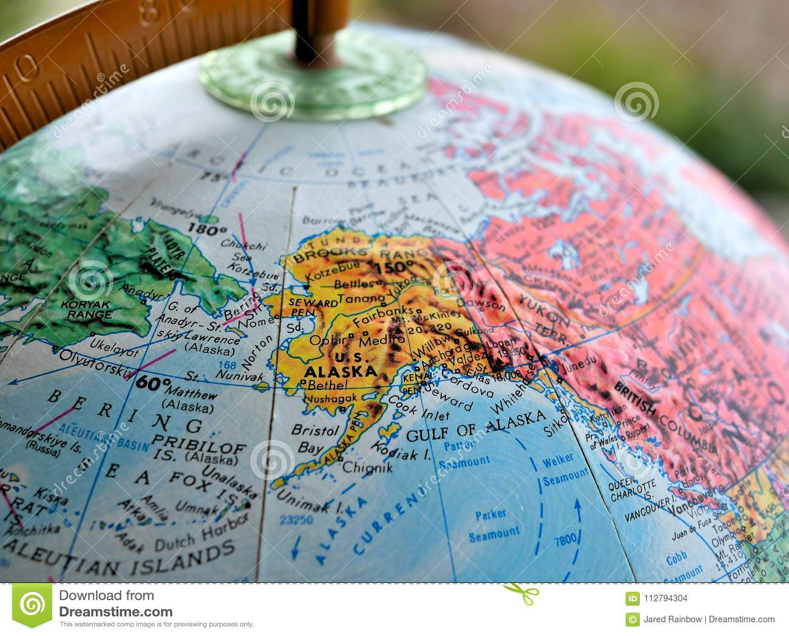 State Of Alaska Focus Macro Shot On Globe Map For Travel ...