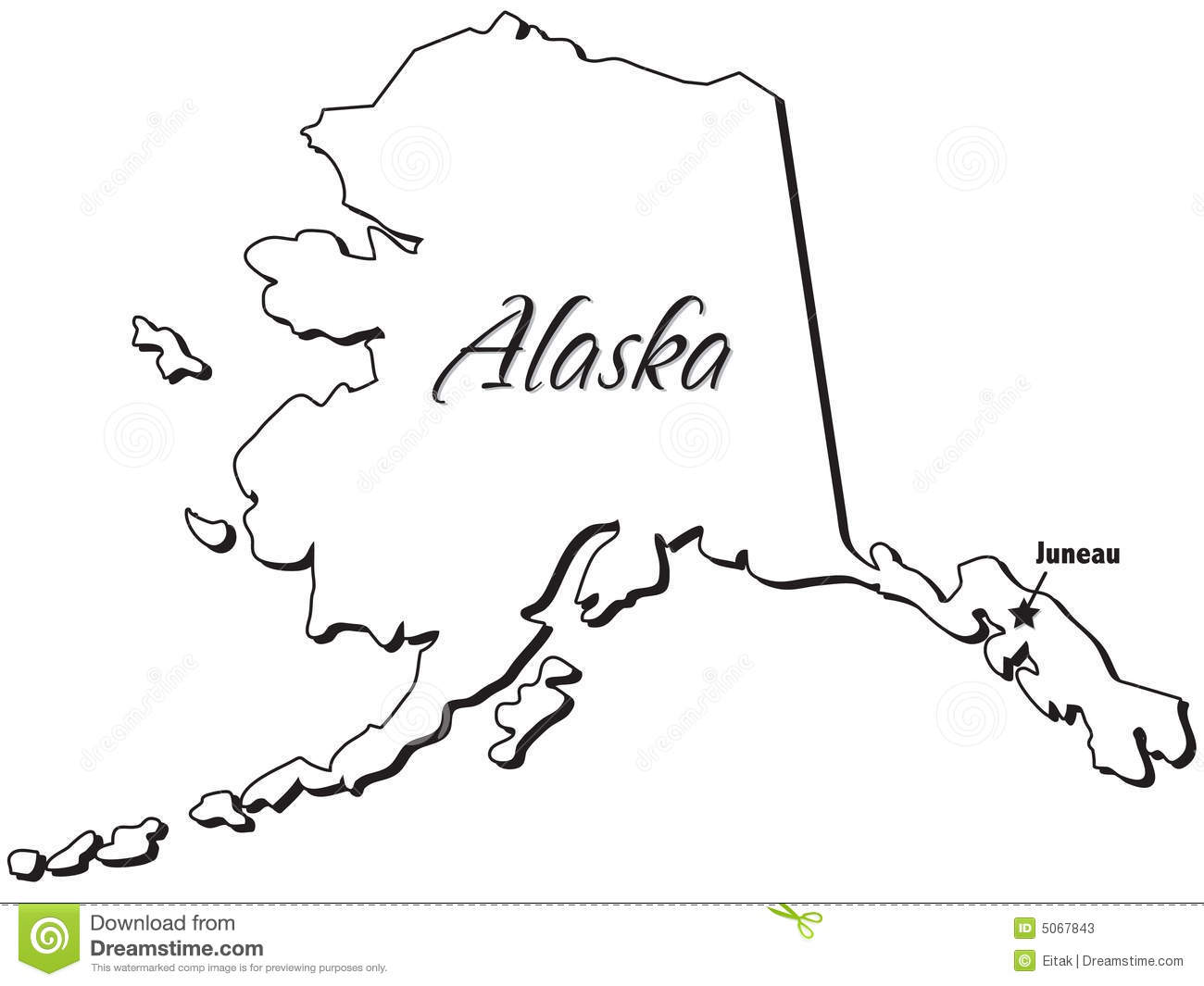 State of Alaska Outline stock vector. Illustration of isolation