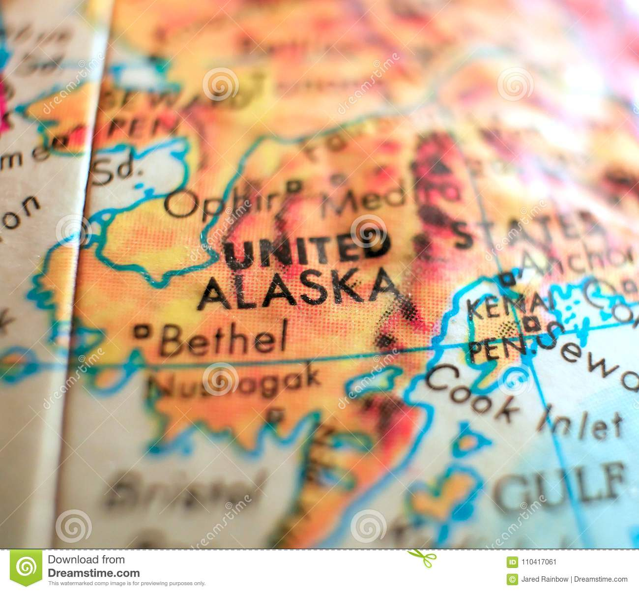 State Of Alaska USA Focus Macro Shot On Globe Map For Travel ...