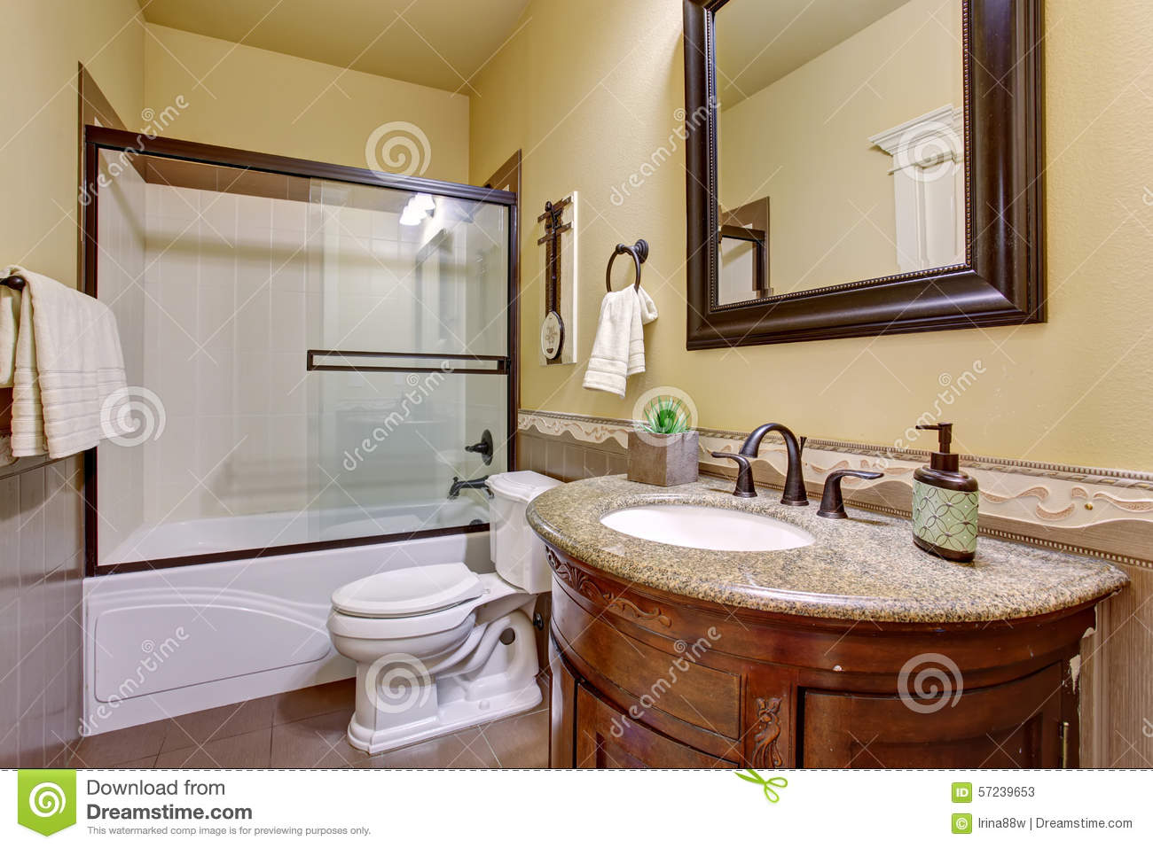 State Of The Art Bathroom With Glass Shower. Stock Image - Image of ...
