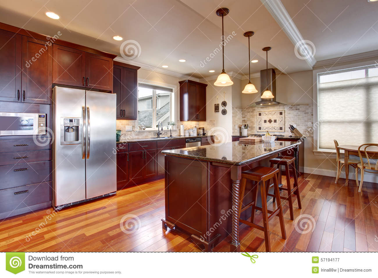 Download State Of The Art Kitchen With Deep Stained Wood. Stock Image    Image Of