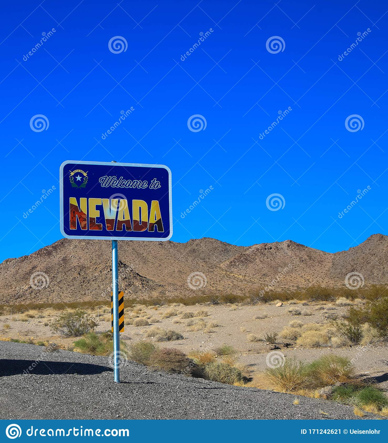 Welcome To Nevada State Border Sign Stock Photo - Image